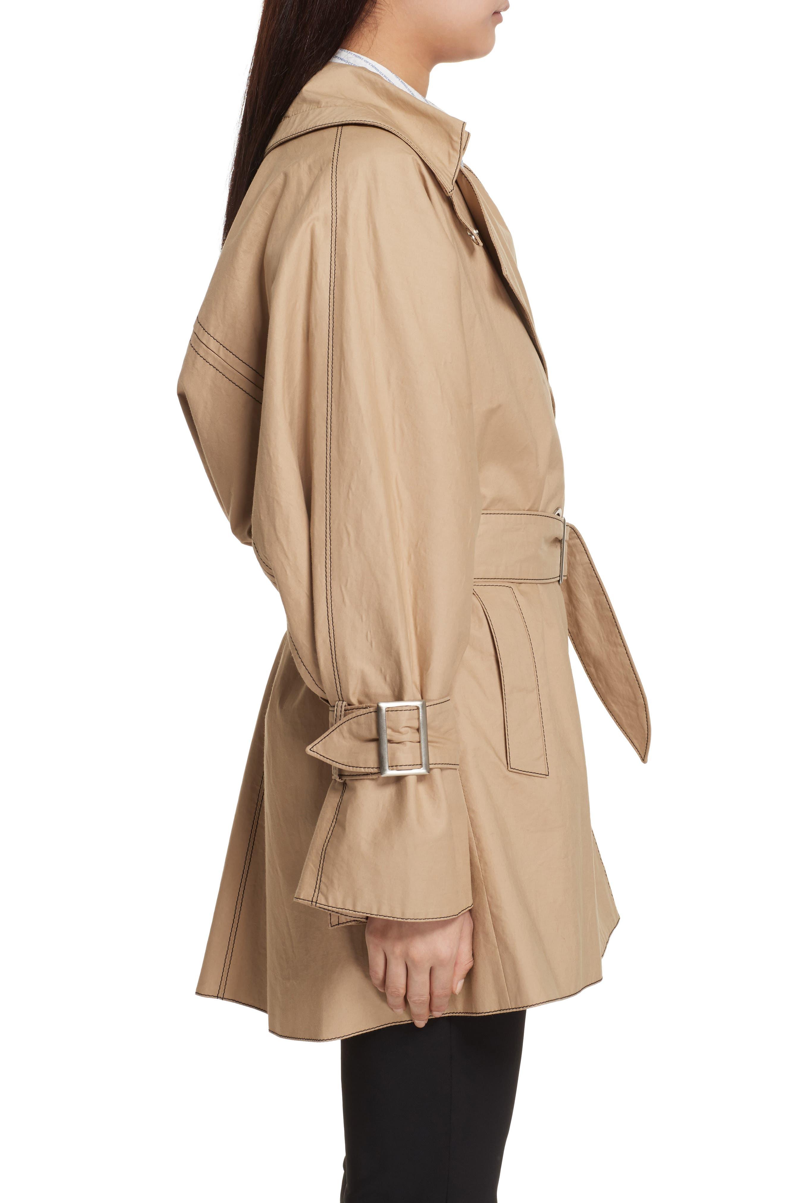 Bonded Poplin Trench Coat,                             Alternate thumbnail 4, color,                             Khaki