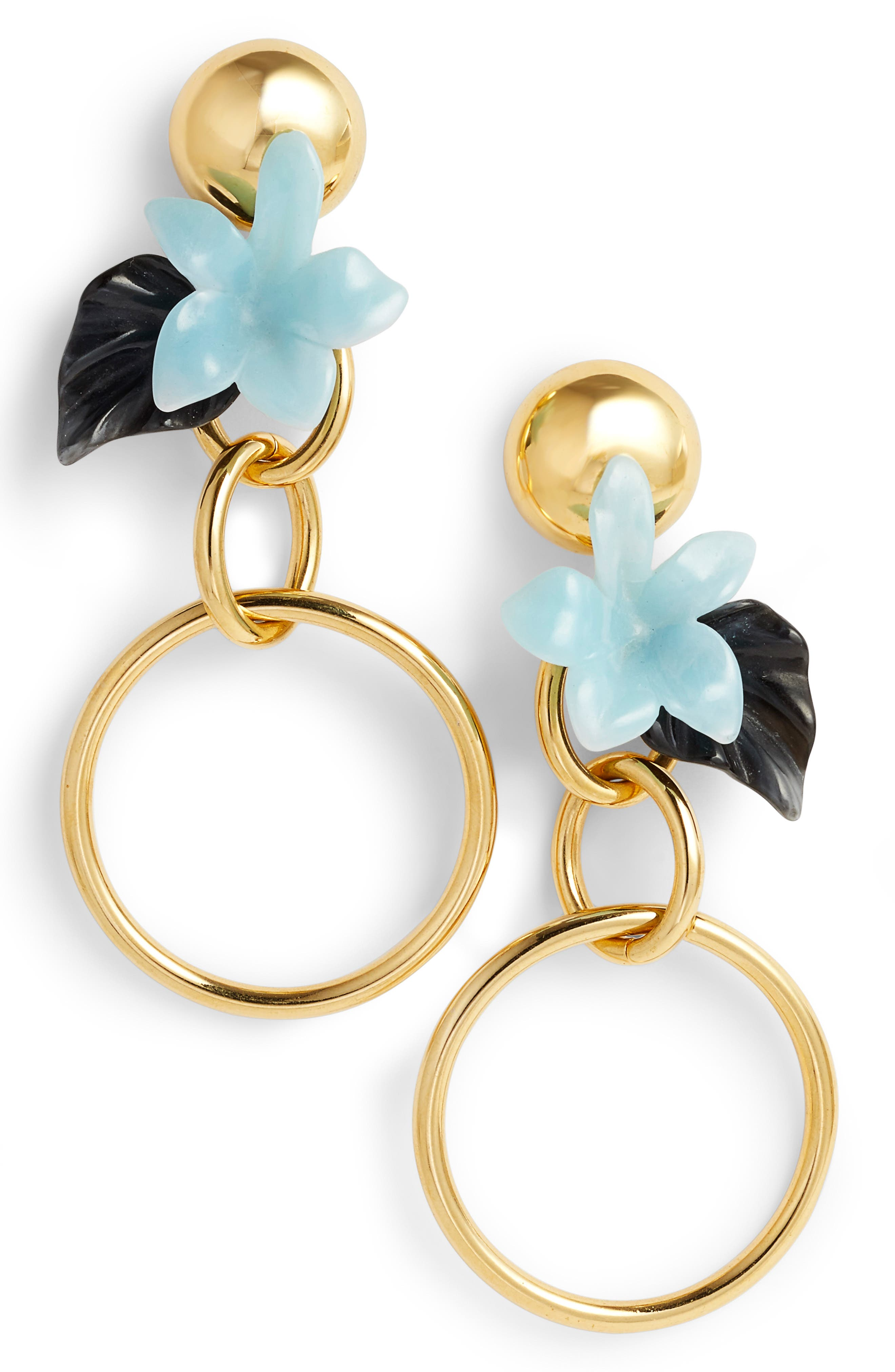 Hibiscus Golden Hoop Drop Earrings,                             Main thumbnail 1, color,                             Sky Blue