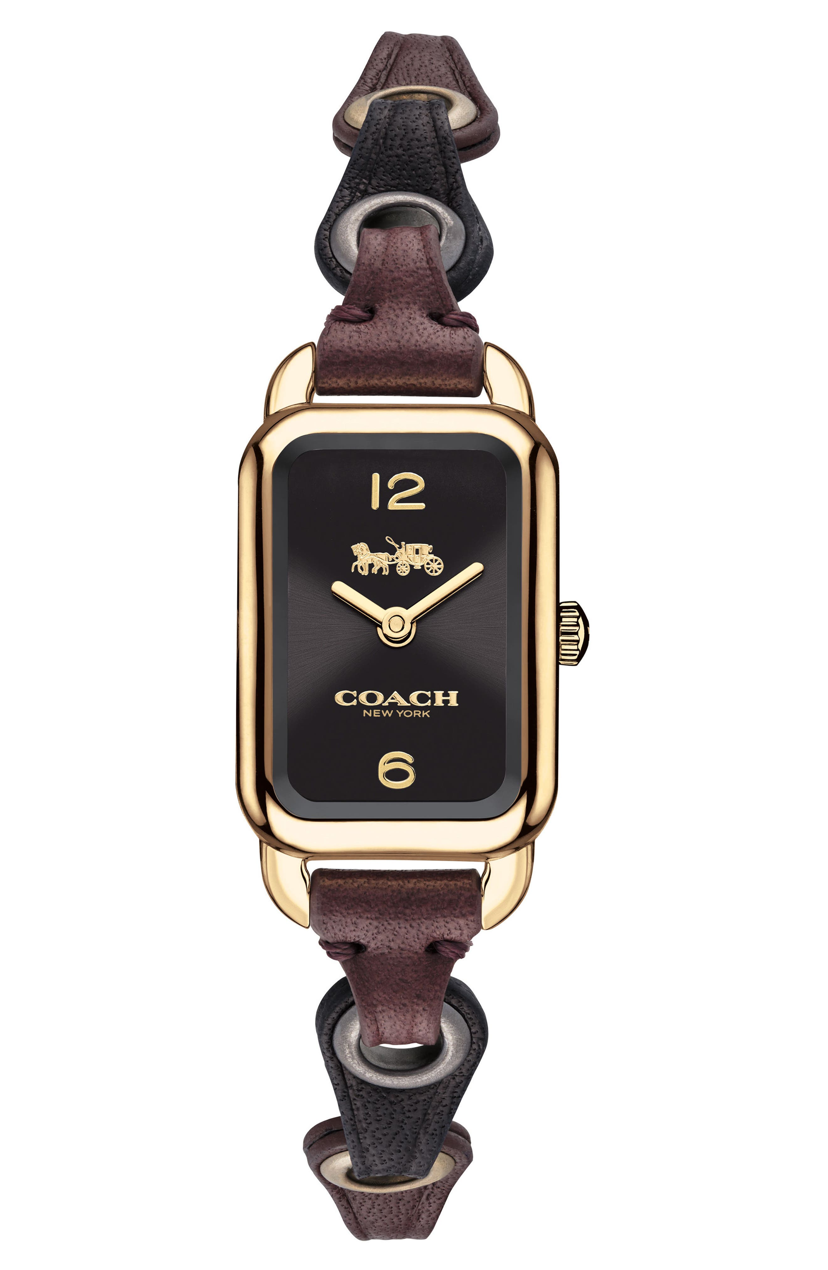 Ludlow Rectangular Leather Strap Watch, 17mm,                         Main,                         color, Black/ Gold