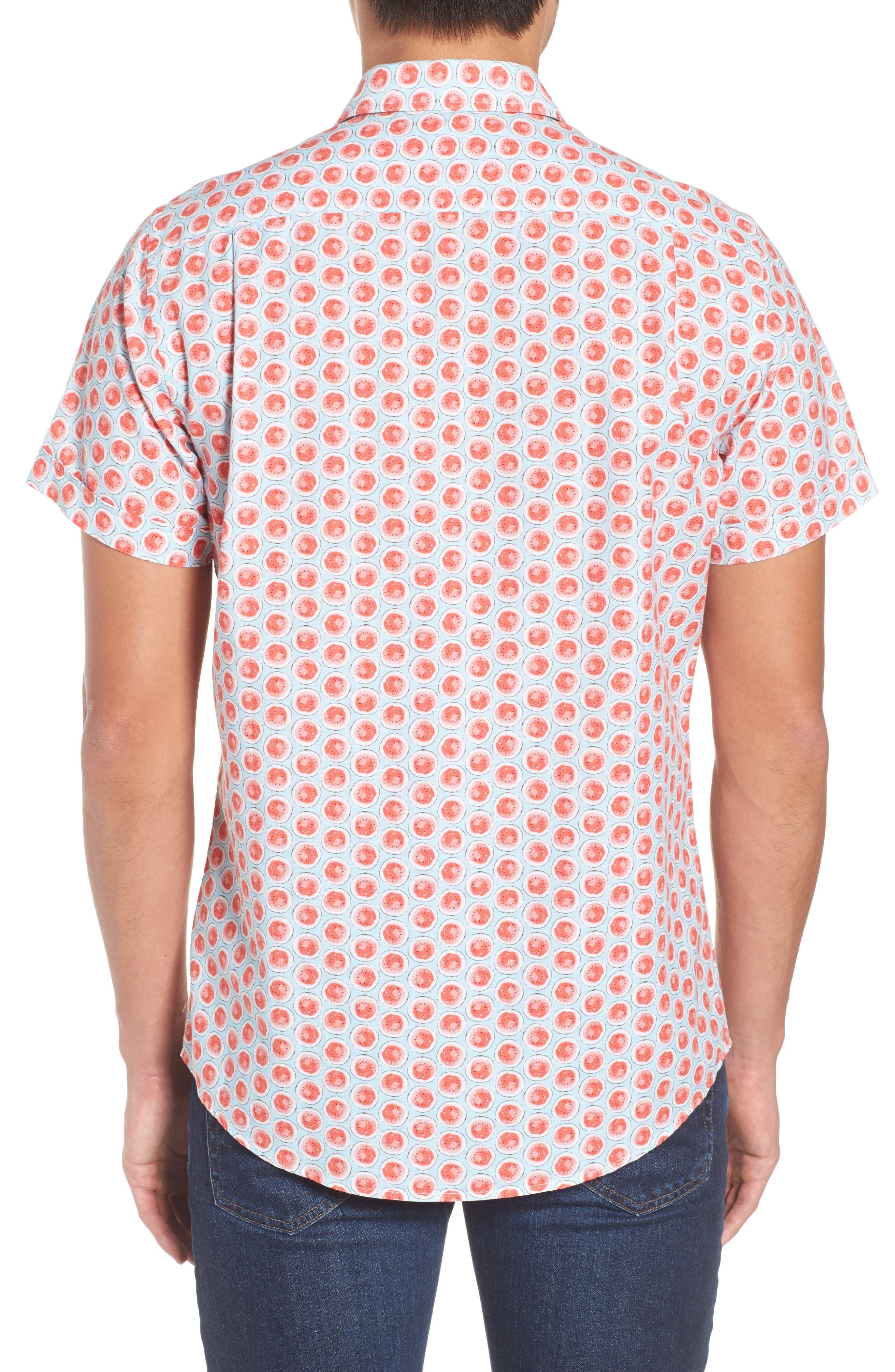 Mellons Bay Regular Fit Sport Shirt,                             Alternate thumbnail 3, color,                             Watermelon