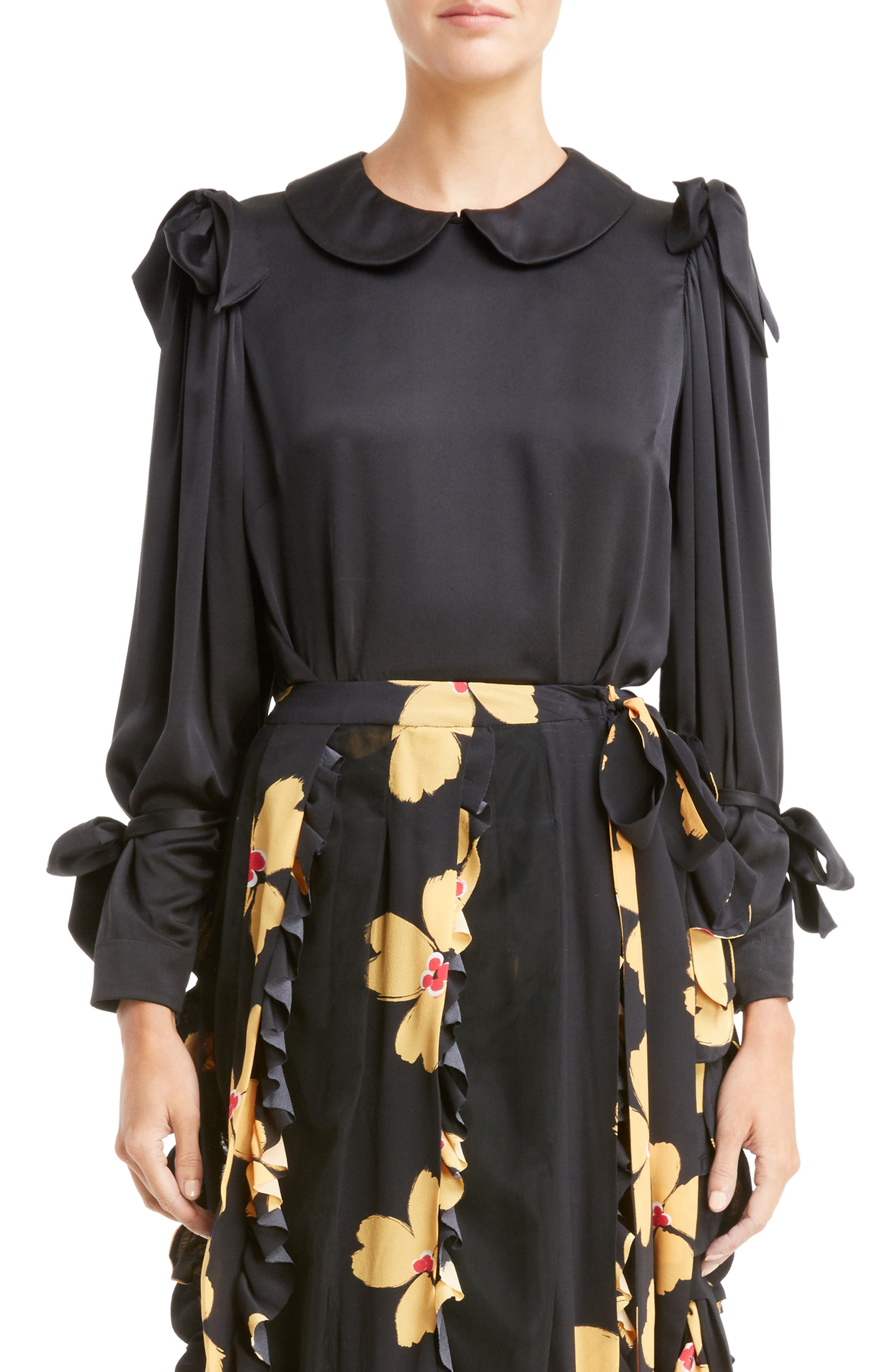 Simone Rocha Bow Sleeve Silk Blouse