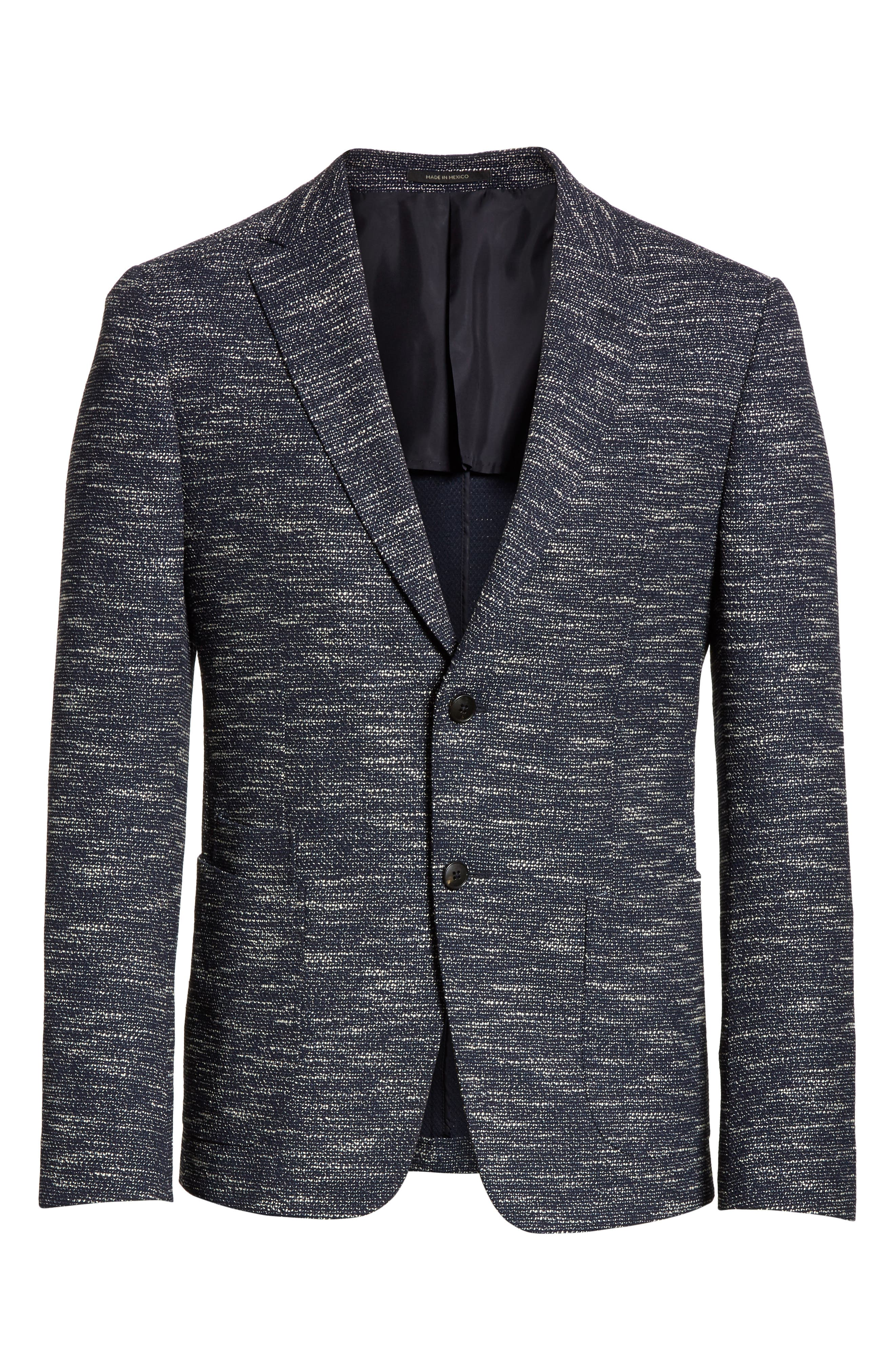 Classic Fit Stretch Wool Blend Blazer,                             Alternate thumbnail 6, color,                             Navy Solid