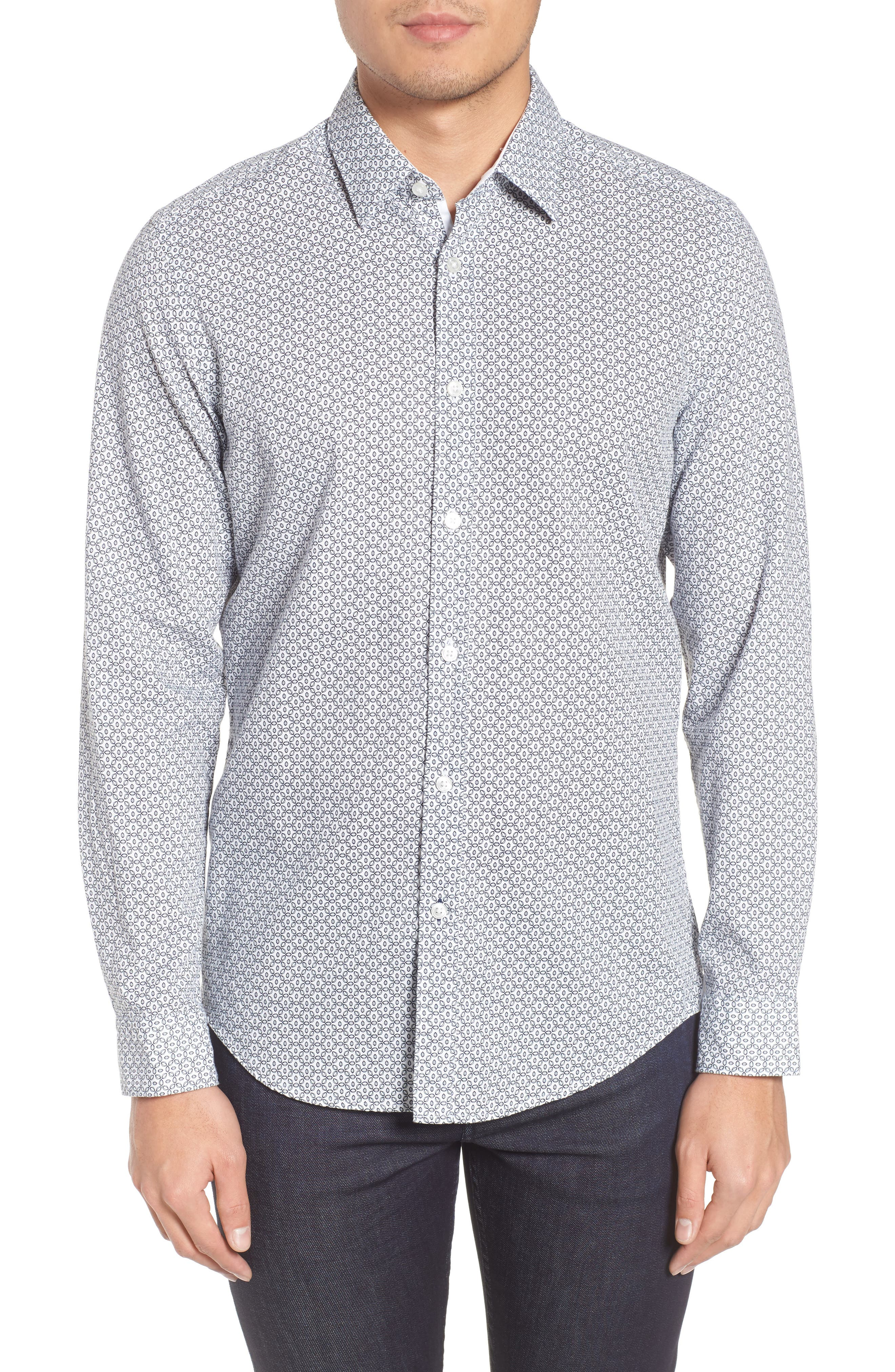 Lukas Regular Fit Twill Print Sport Shirt,                         Main,                         color, White