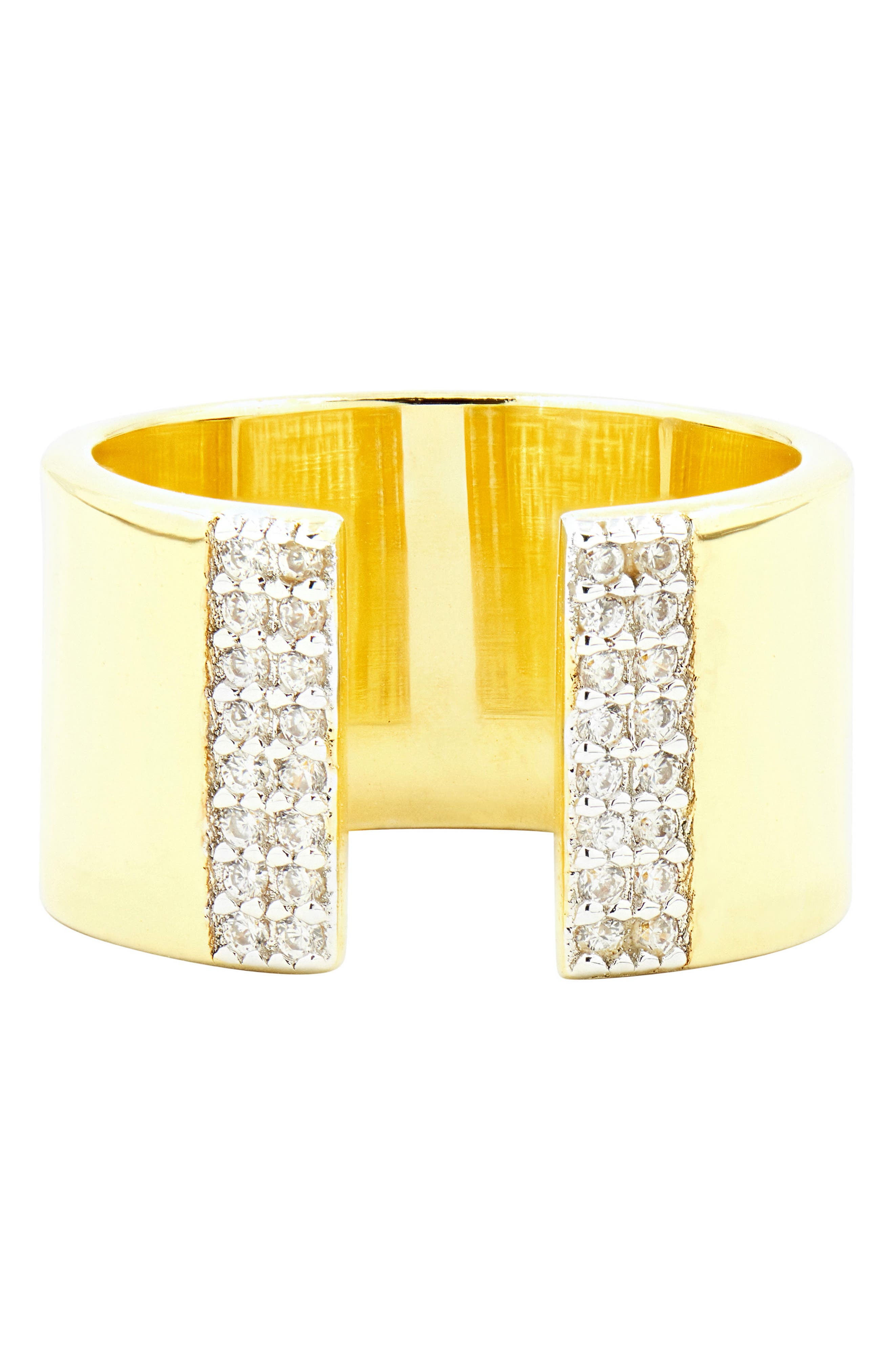 Radiance Cubic Zirconia Ring,                         Main,                         color, Silver/ Gold