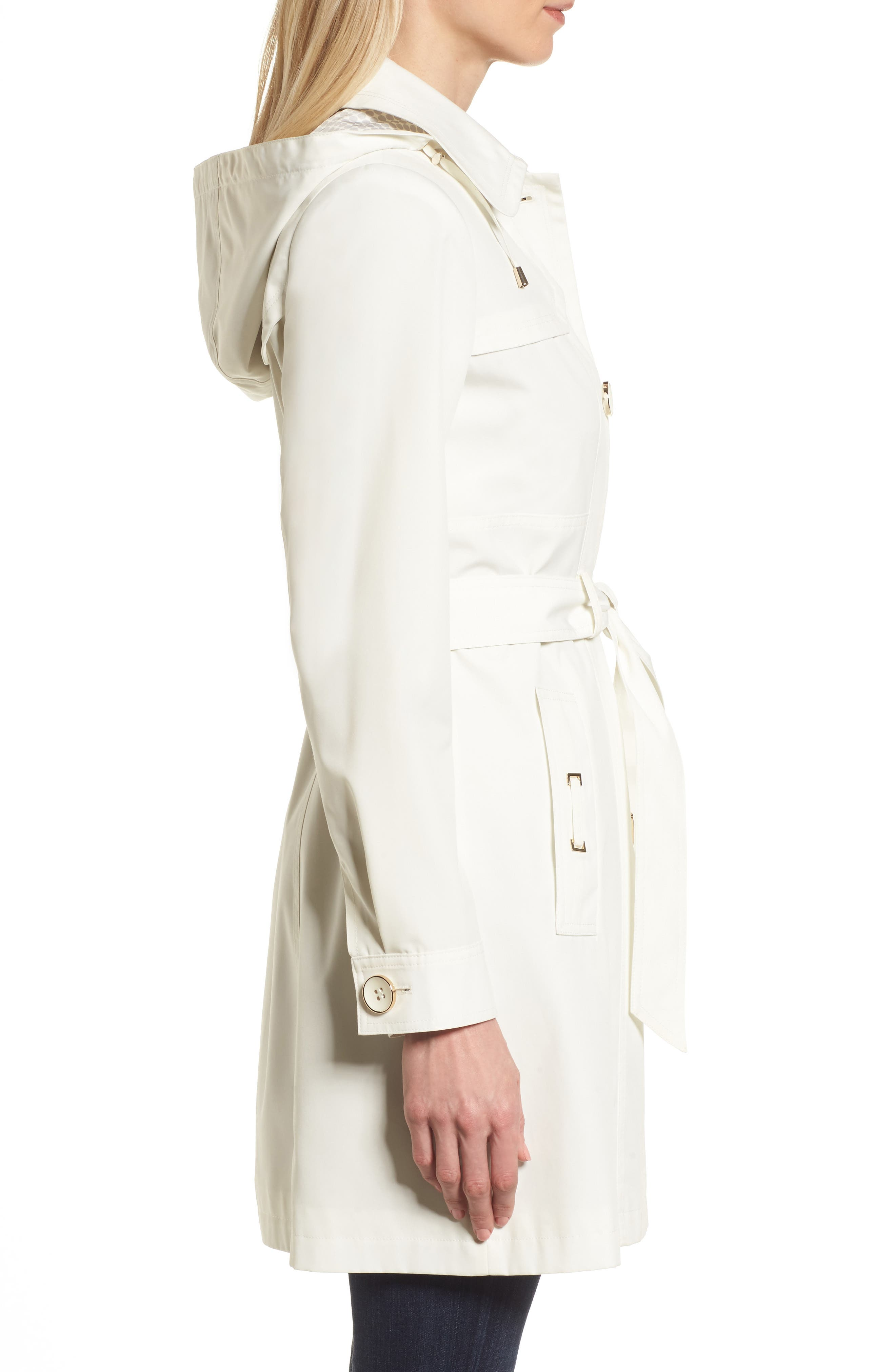 Belted Trench Raincoat,                             Alternate thumbnail 3, color,                             Vanilla