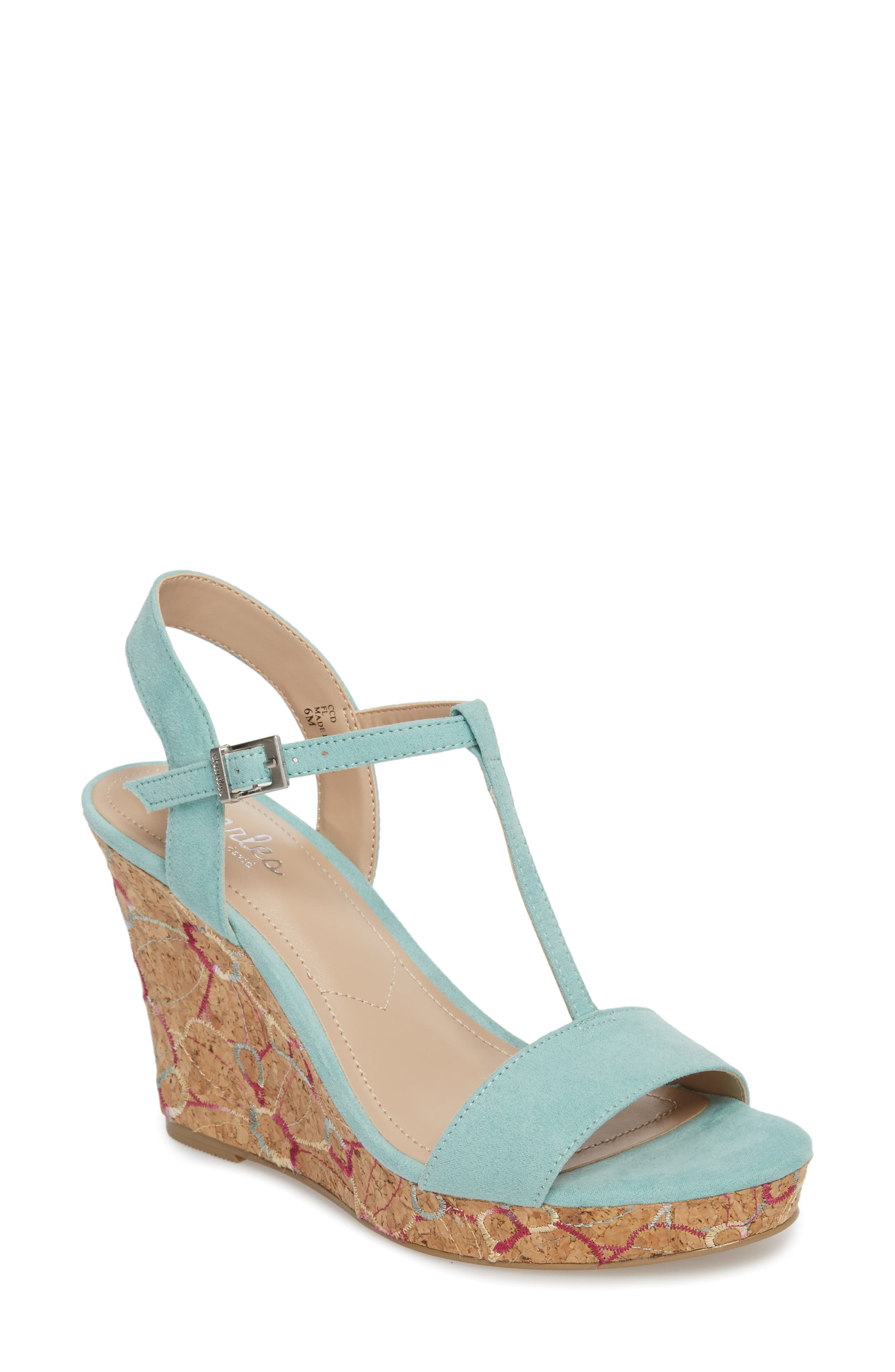 Laney Embroidered Wedge Sandal,                             Main thumbnail 1, color,                             Mint Green Suede