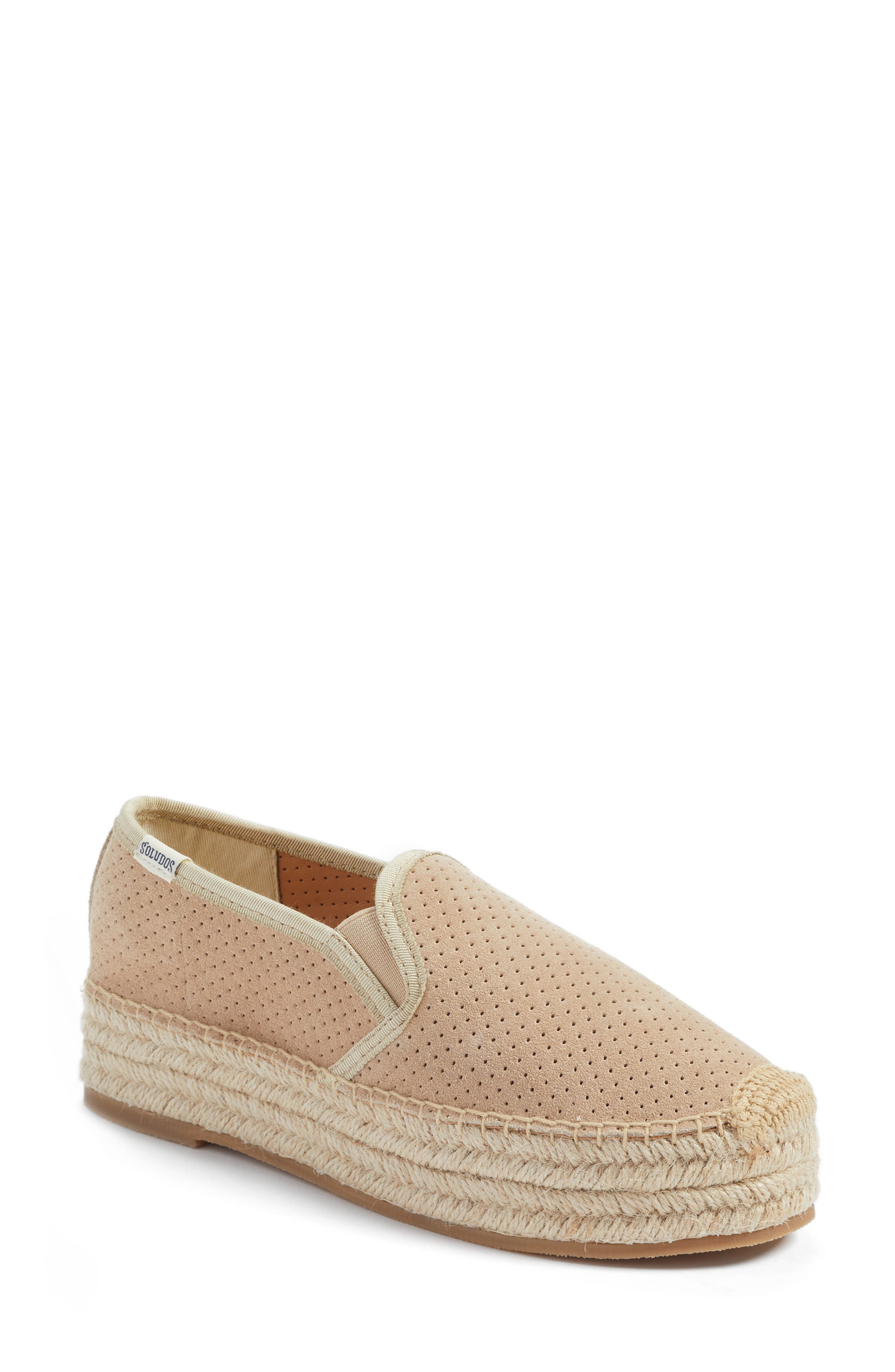Malibu Perforated Platform Espadrille,                             Main thumbnail 1, color,                             Blush Suede