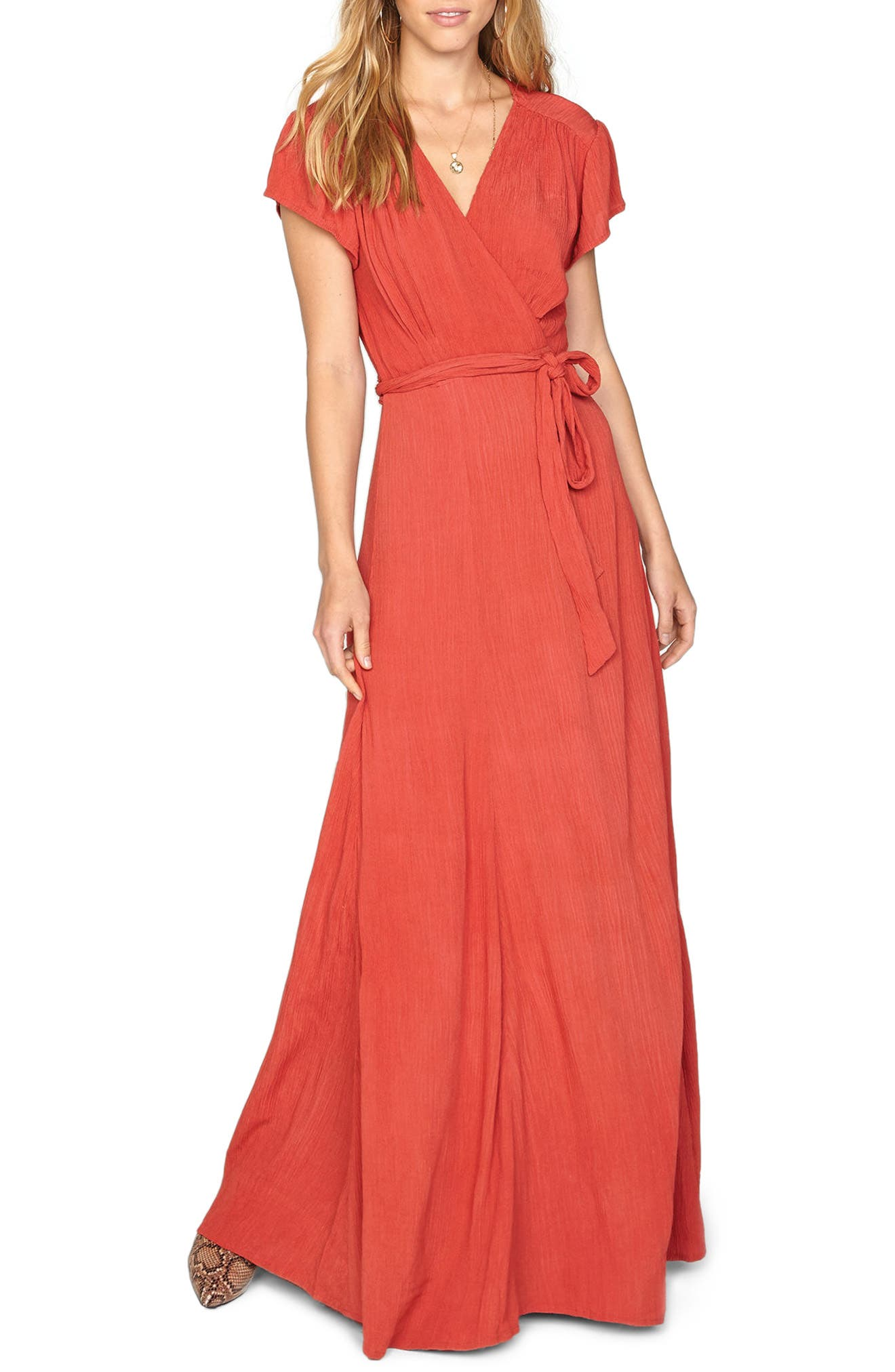 Beachscape Maxi Wrap Dress,                         Main,                         color, Salsa Red