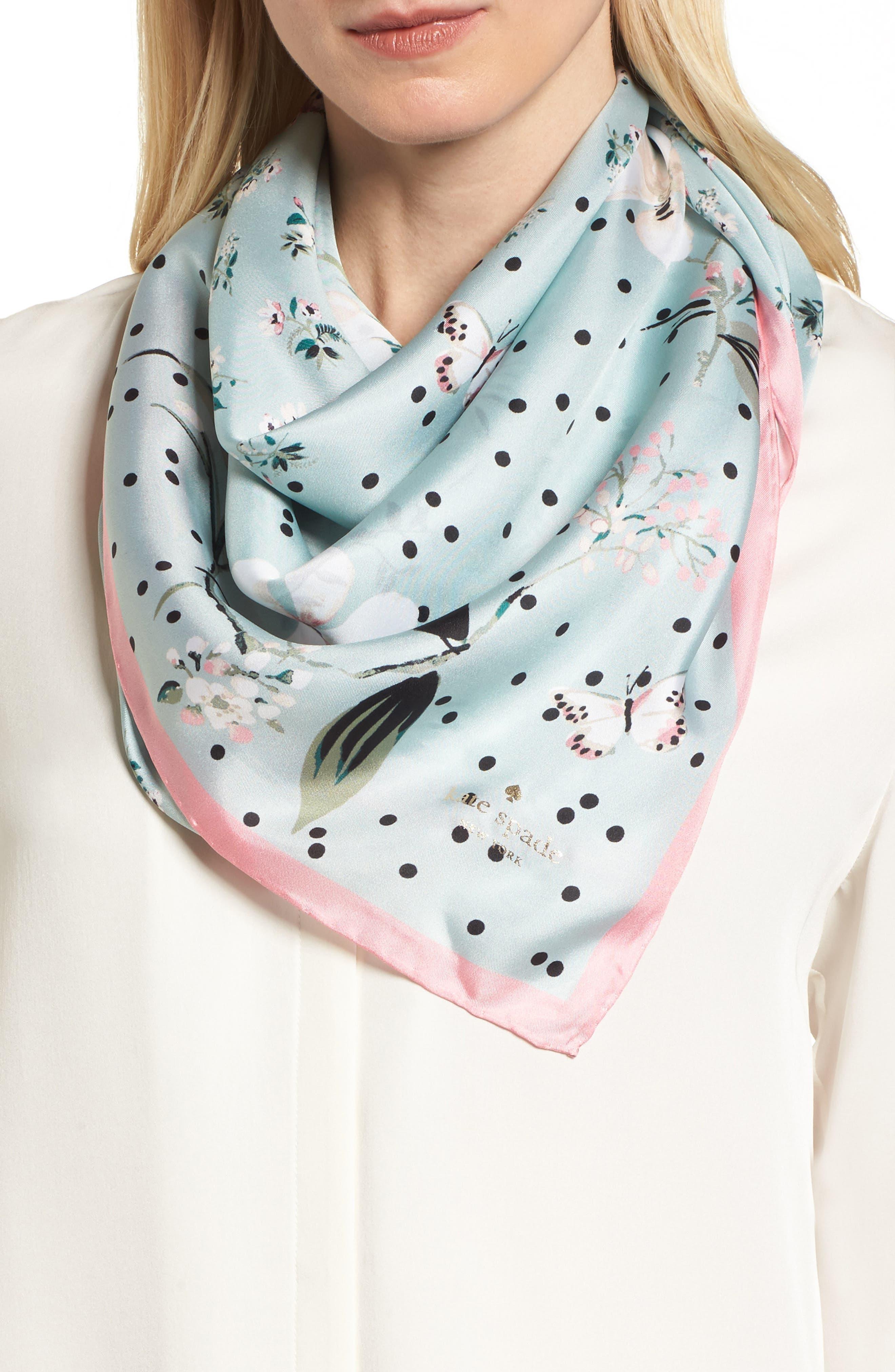 kate spade new york botanical patchwork square silk scarf