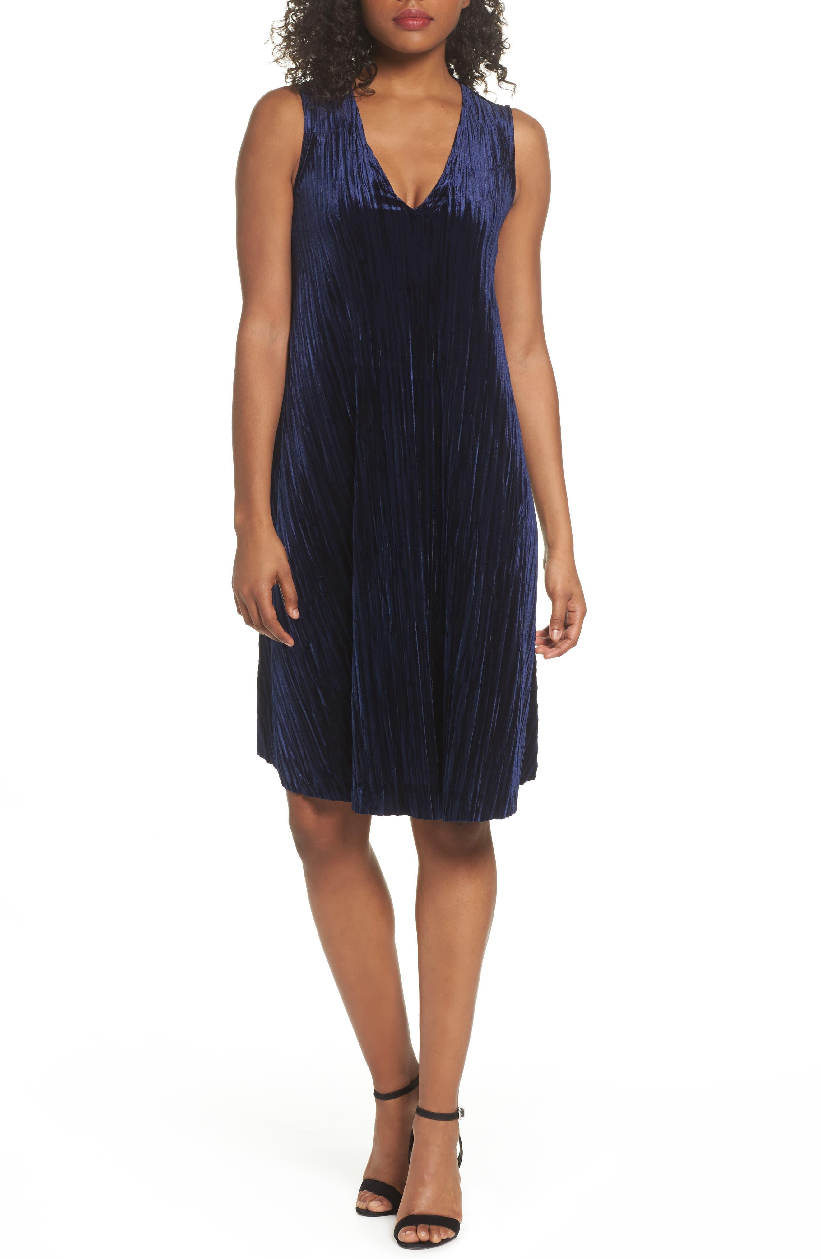 Velvet Shift Dress,                             Main thumbnail 1, color,                             Navy