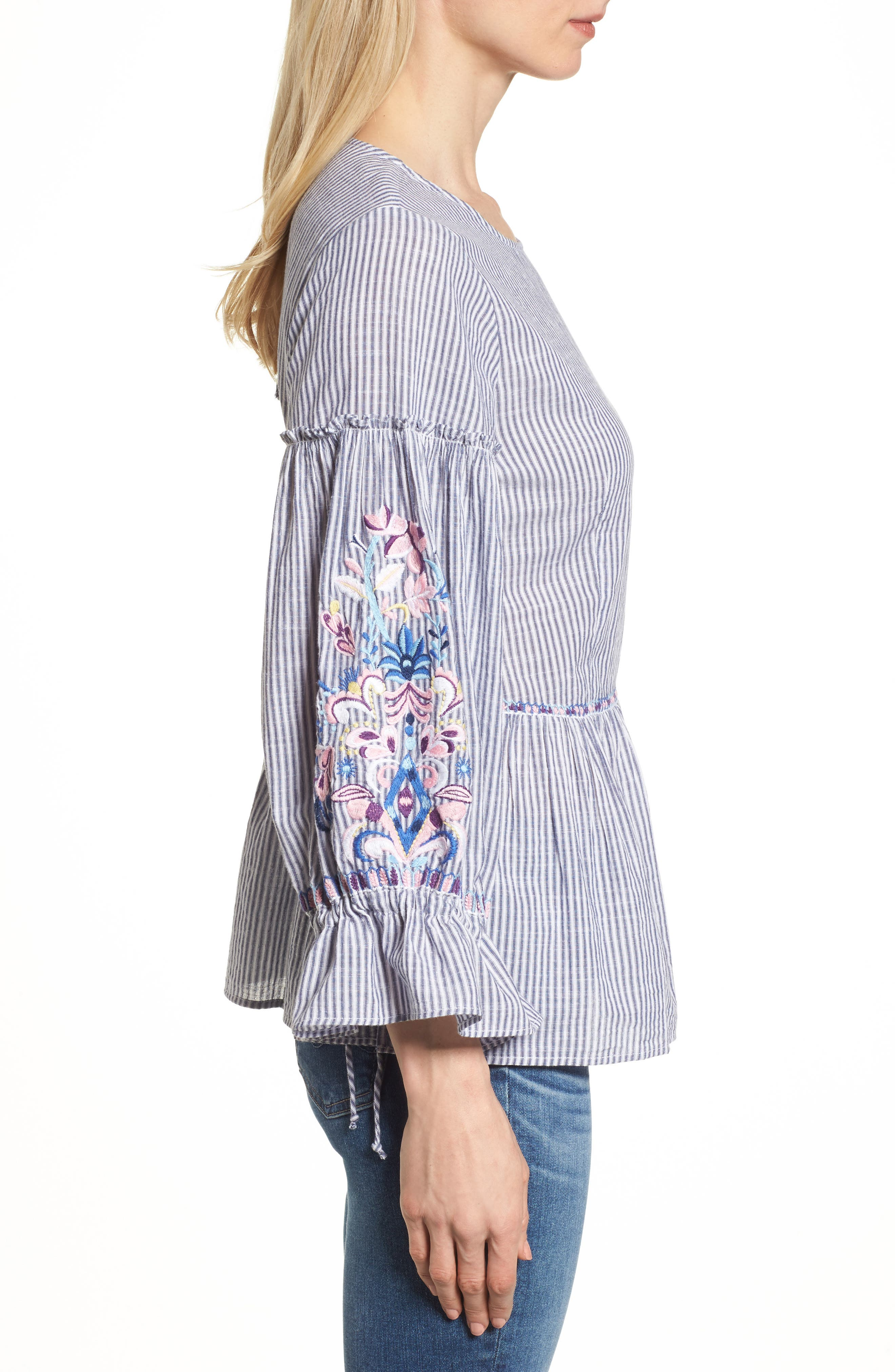 Embroidered Sleeve Top,                             Alternate thumbnail 3, color,                             Blue-White