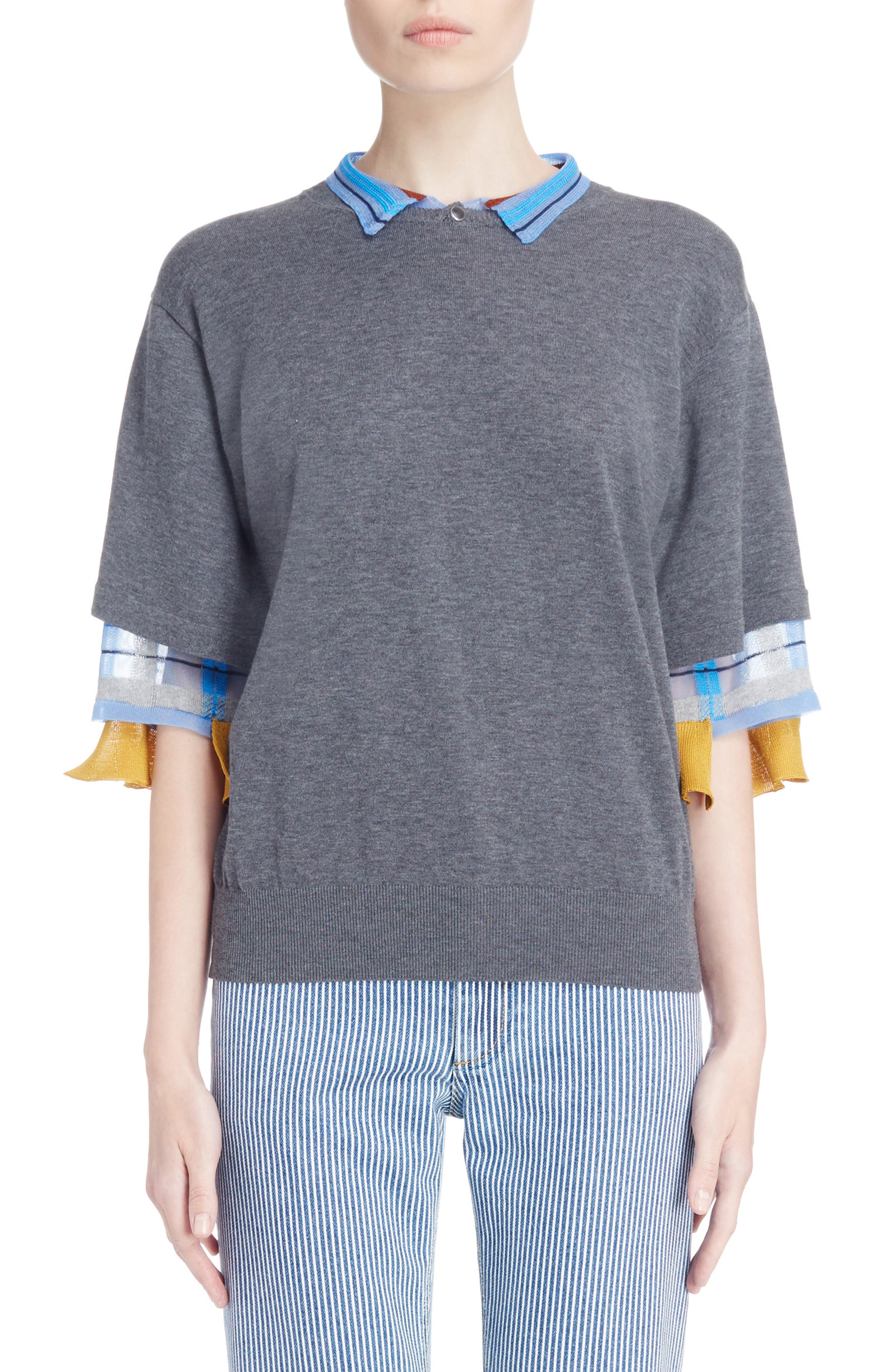 Check Tier Sleeve Sweater,                         Main,                         color, Gray