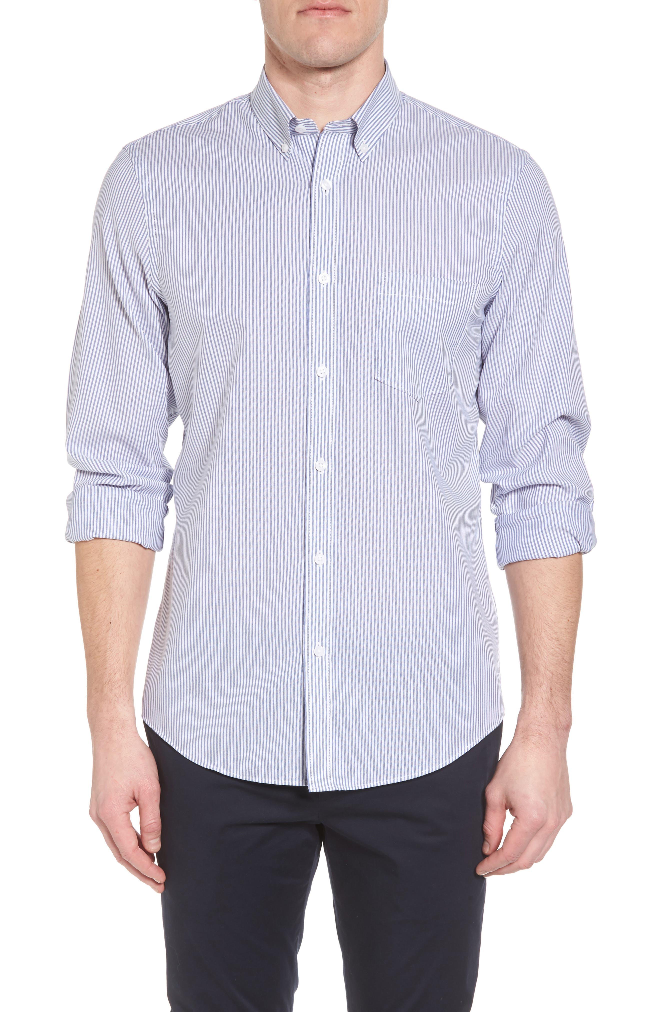 Tech-Smart Regular Fit Stripe Sport Shirt,                         Main,                         color, Navy Iris White Stripe