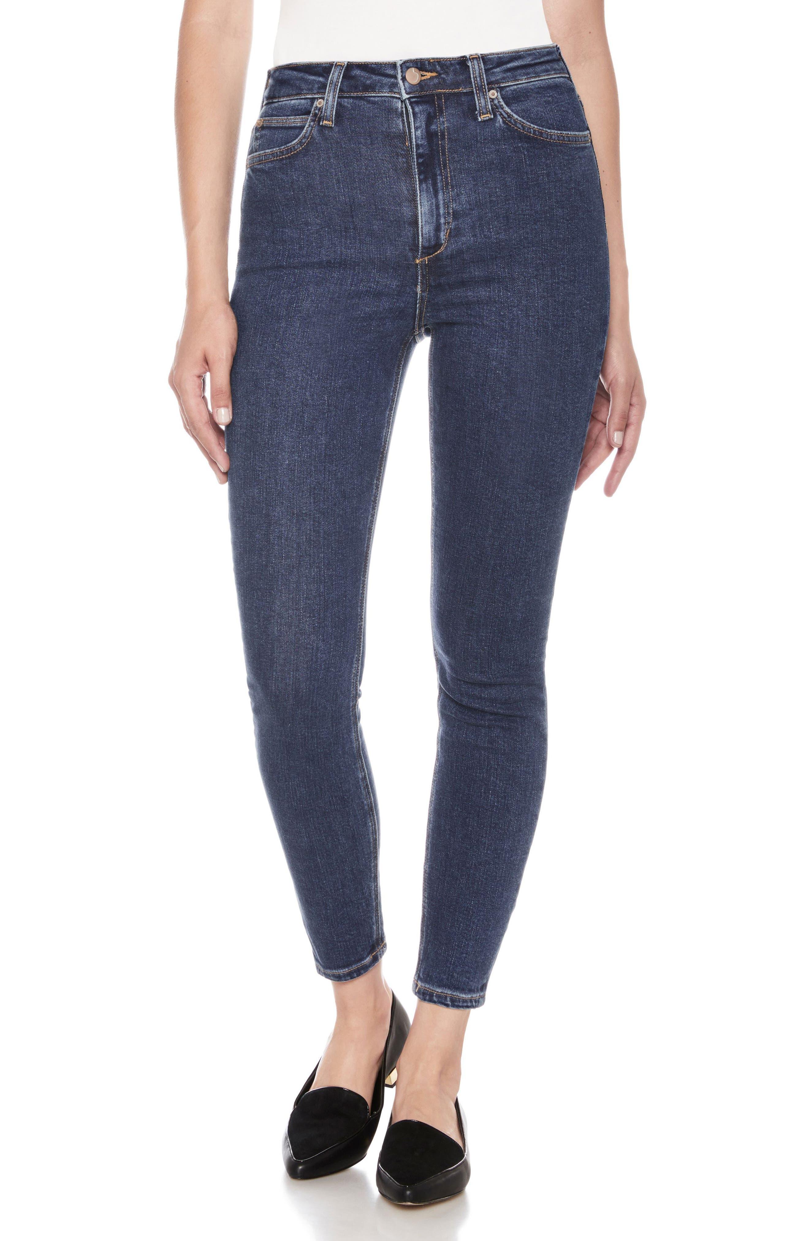 Bella High Waist Ankle Skinny Jeans,                         Main,                         color, Austen