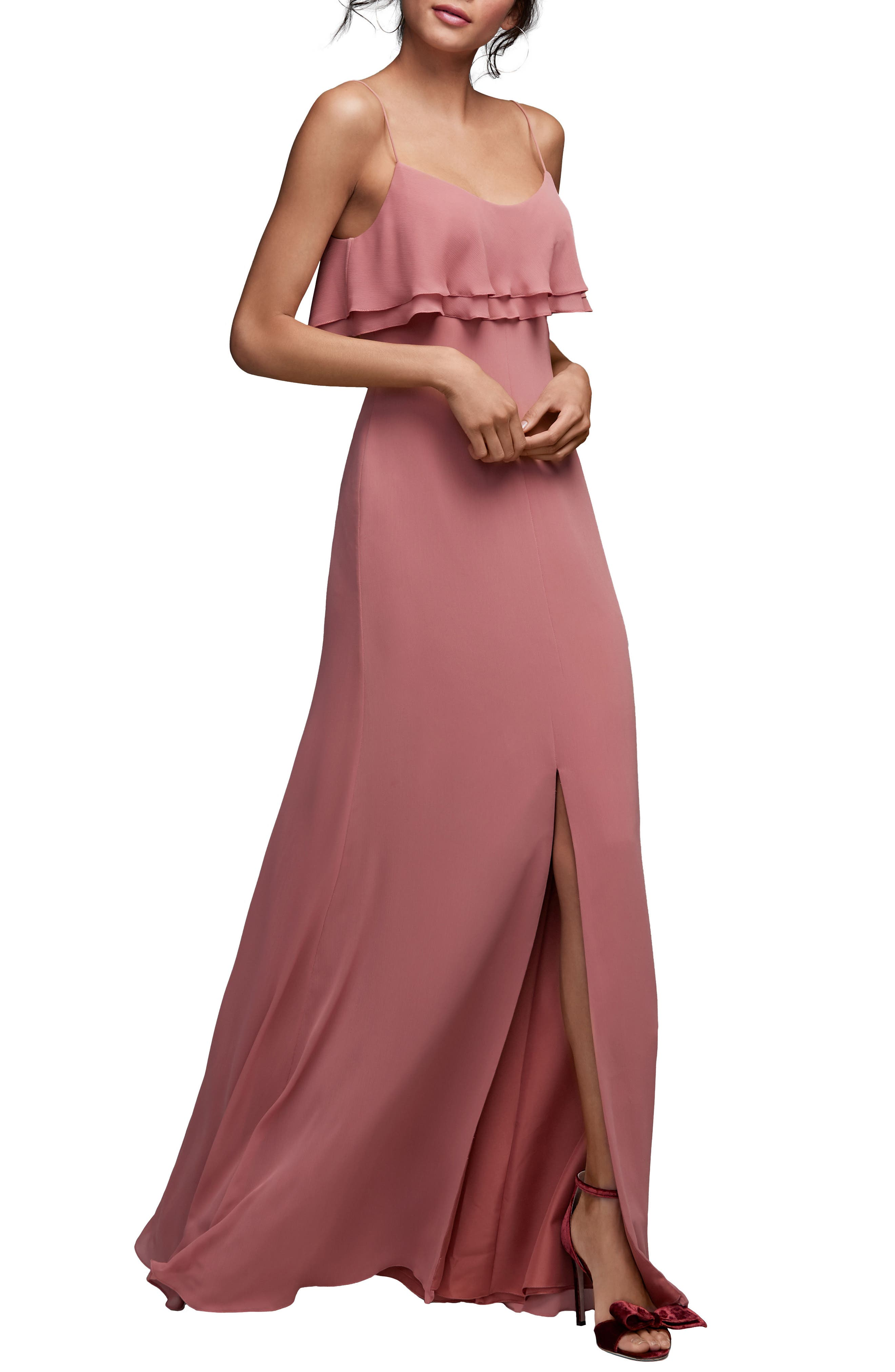 Alternate Image 1 Selected - Watters Jasper Ruffle Popover Gown