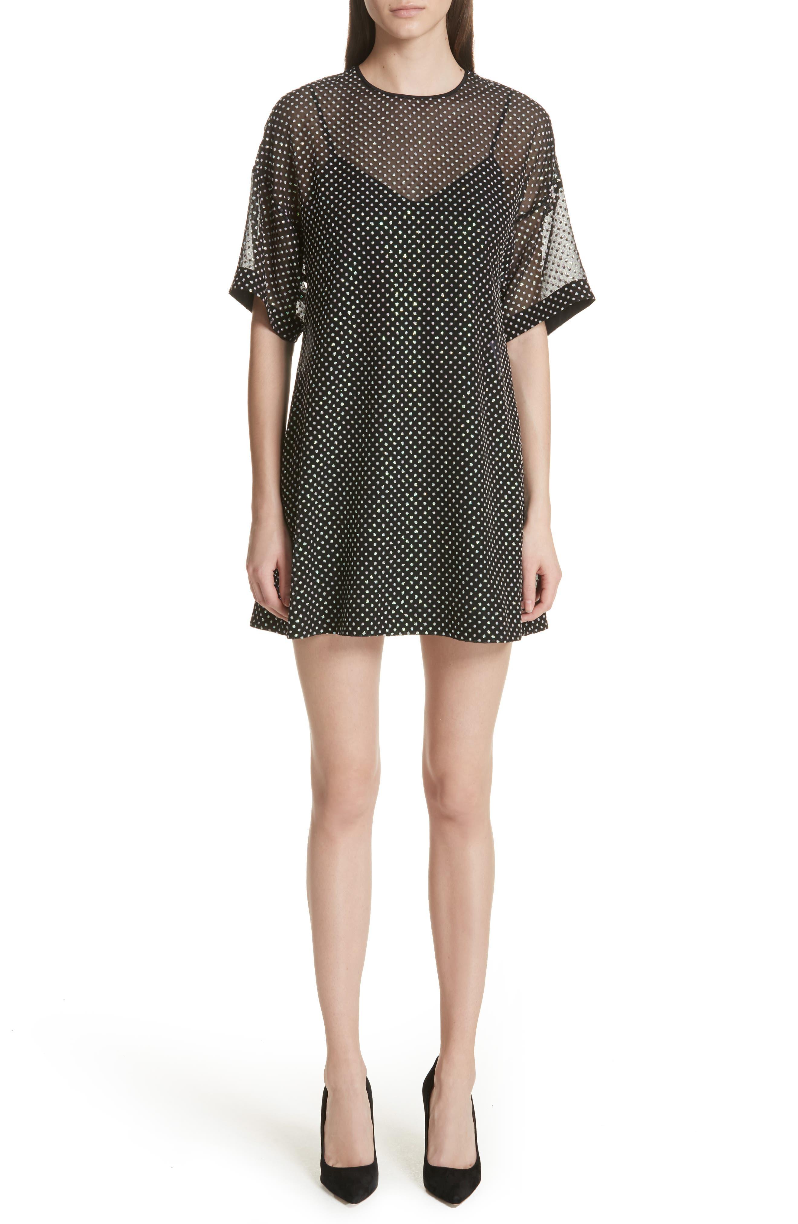 Creponne T-Shirt Dress,                             Main thumbnail 1, color,                             Black