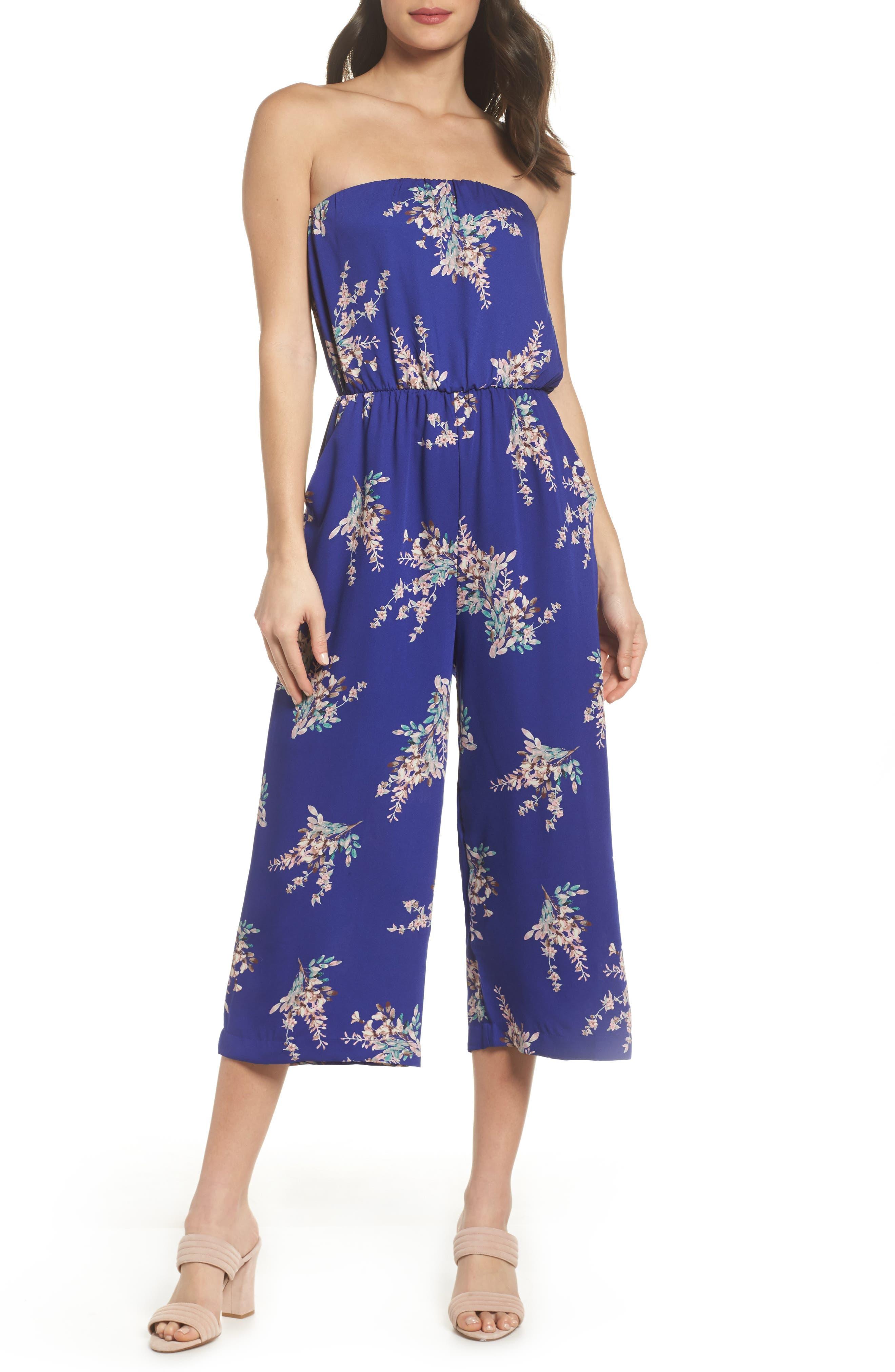 Strapless Culotte Jumpsuit,                         Main,                         color, Cobalt