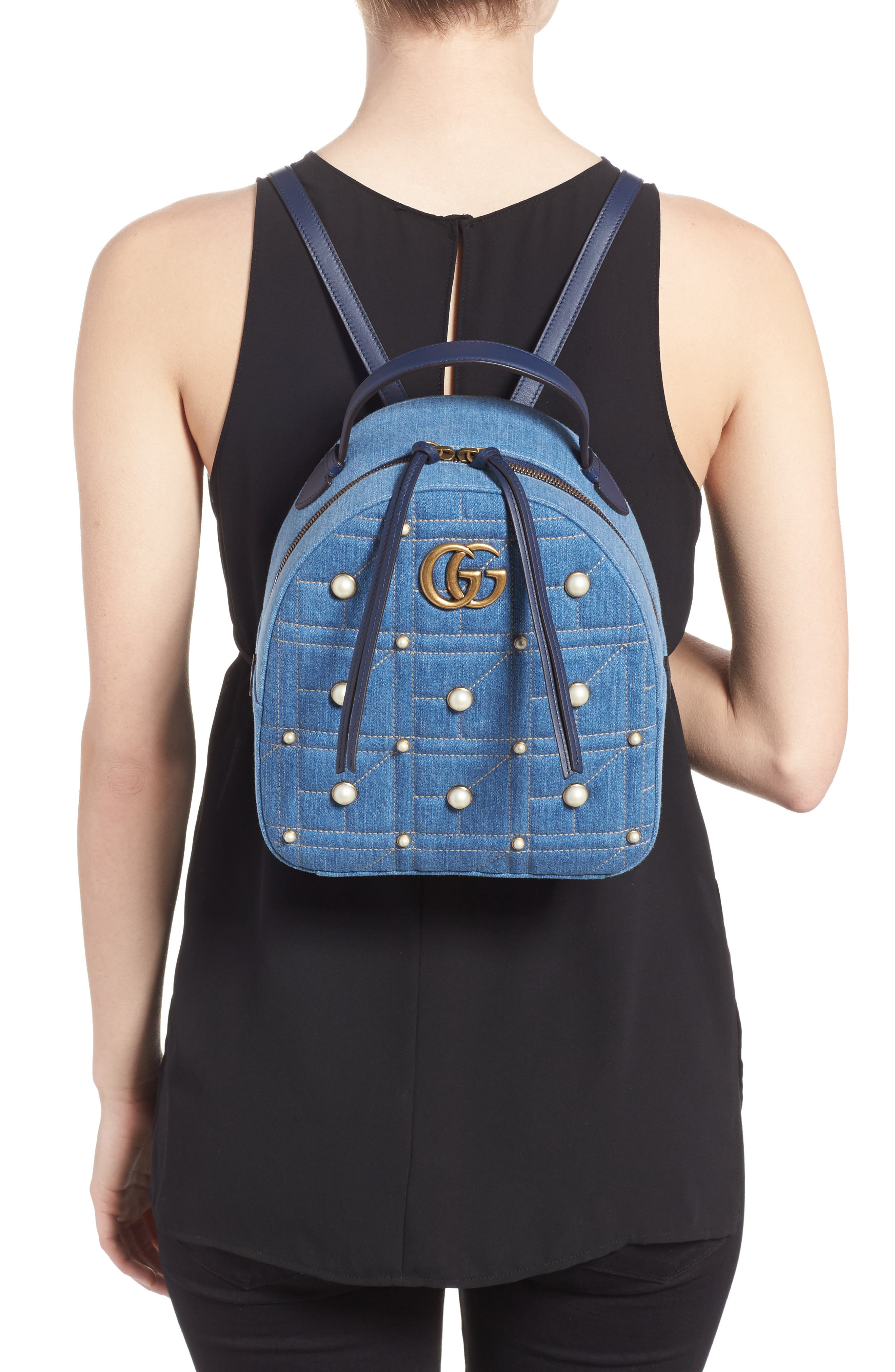 GG Marmont 2.0 Imitation Pearl Embellished Denim Backpack,                             Alternate thumbnail 2, color,                             Denim Blue