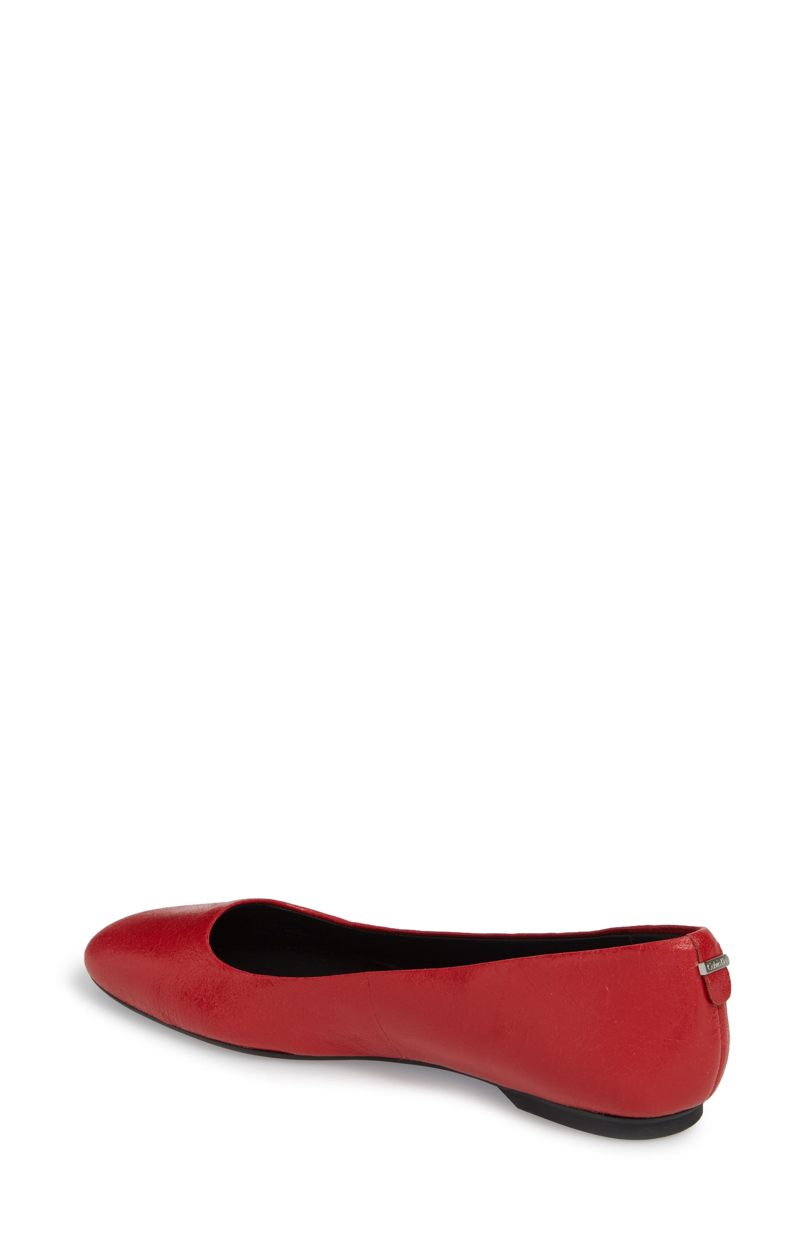 Enith Flat,                             Alternate thumbnail 2, color,                             Crimson Red Leather