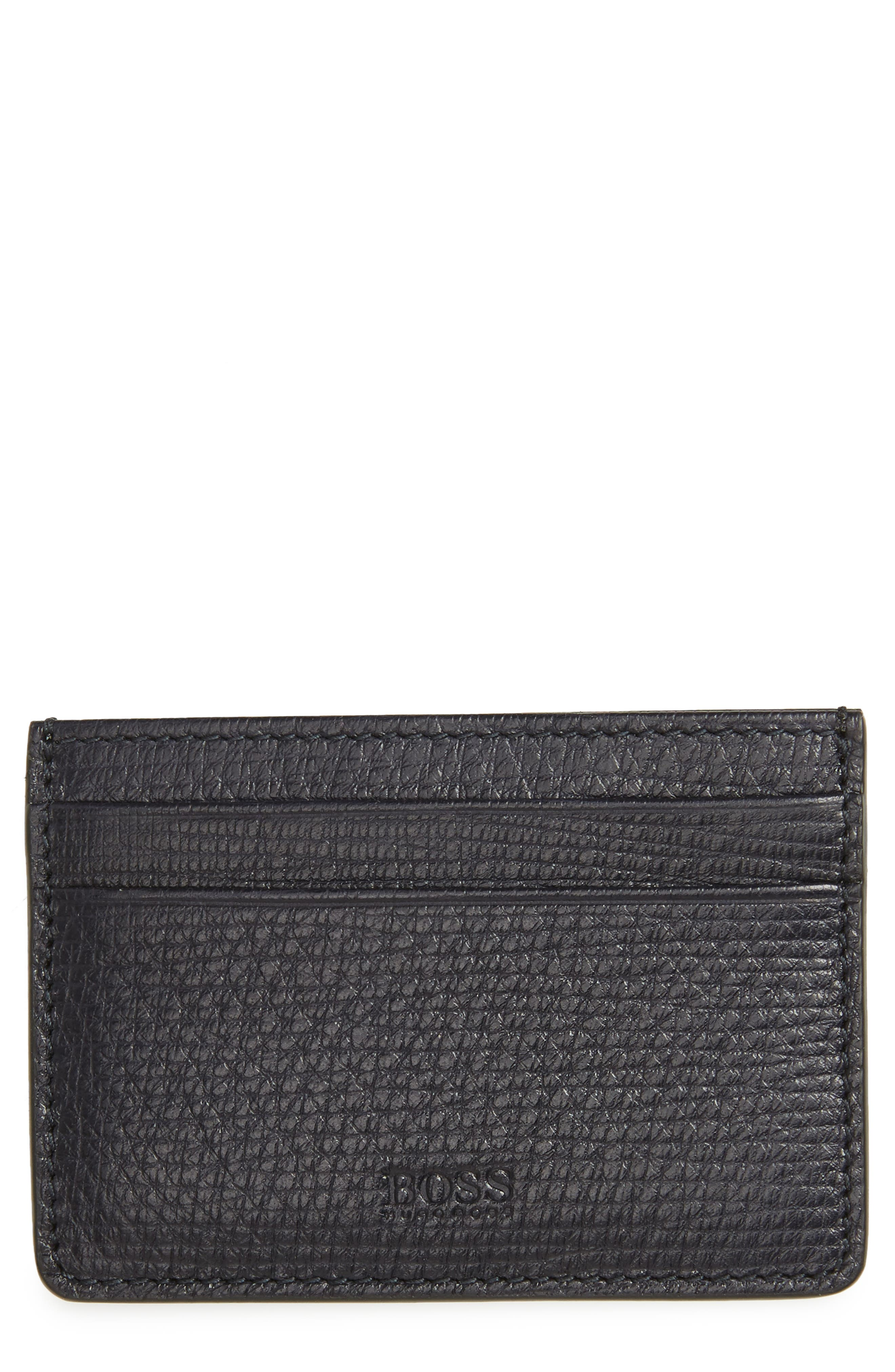 Timeless Leather Card Case,                         Main,                         color, Navy
