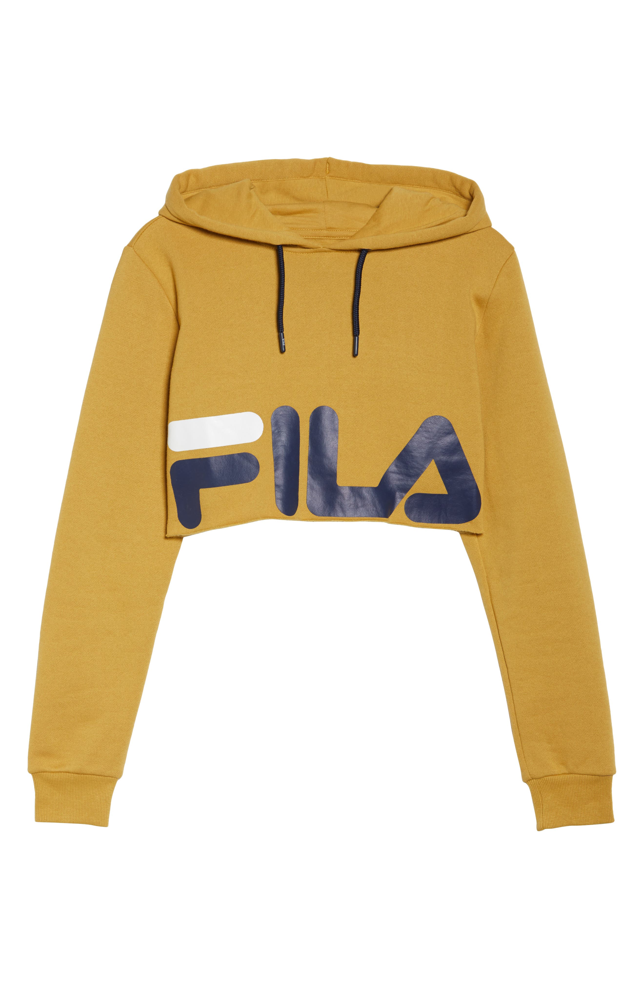 Pam Crop Hoodie,                             Alternate thumbnail 7, color,                             Mustard Gold/ Navy/ White