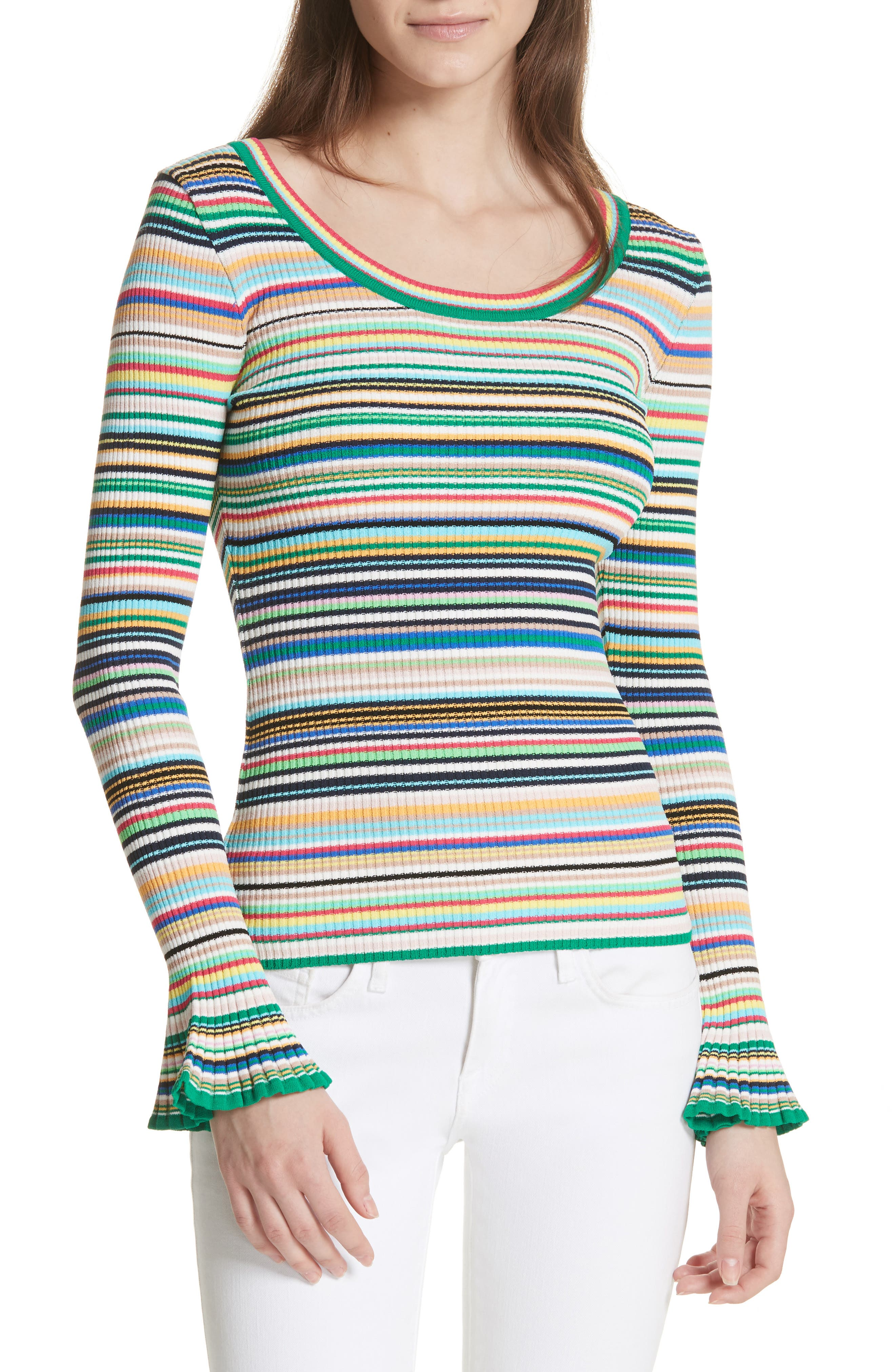 Milly Microstripe Flare Sleeve Pullover