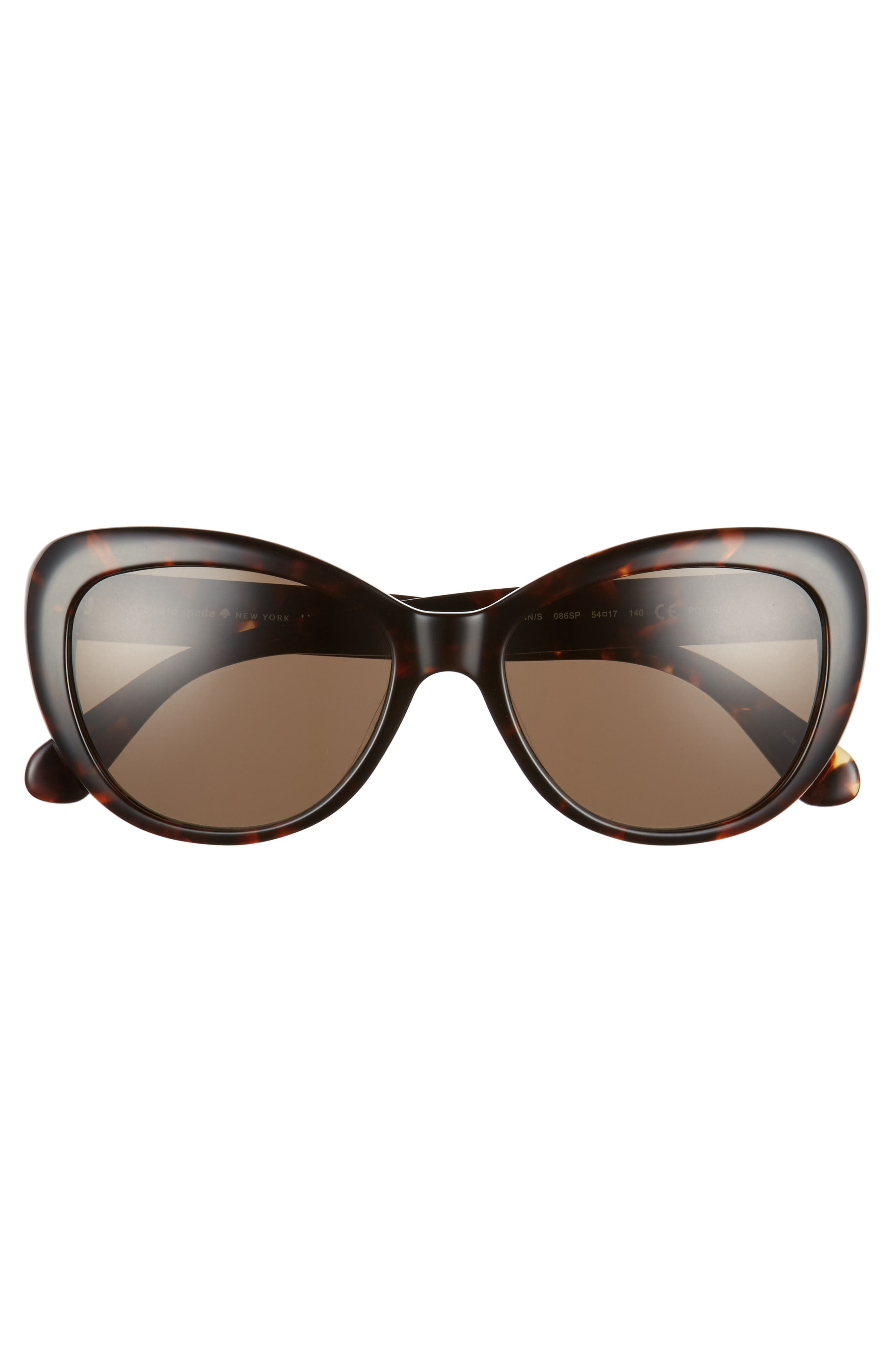 emmalynn 54mm polarized cat eye sunglasses,                             Alternate thumbnail 3, color,                             Dark Havana