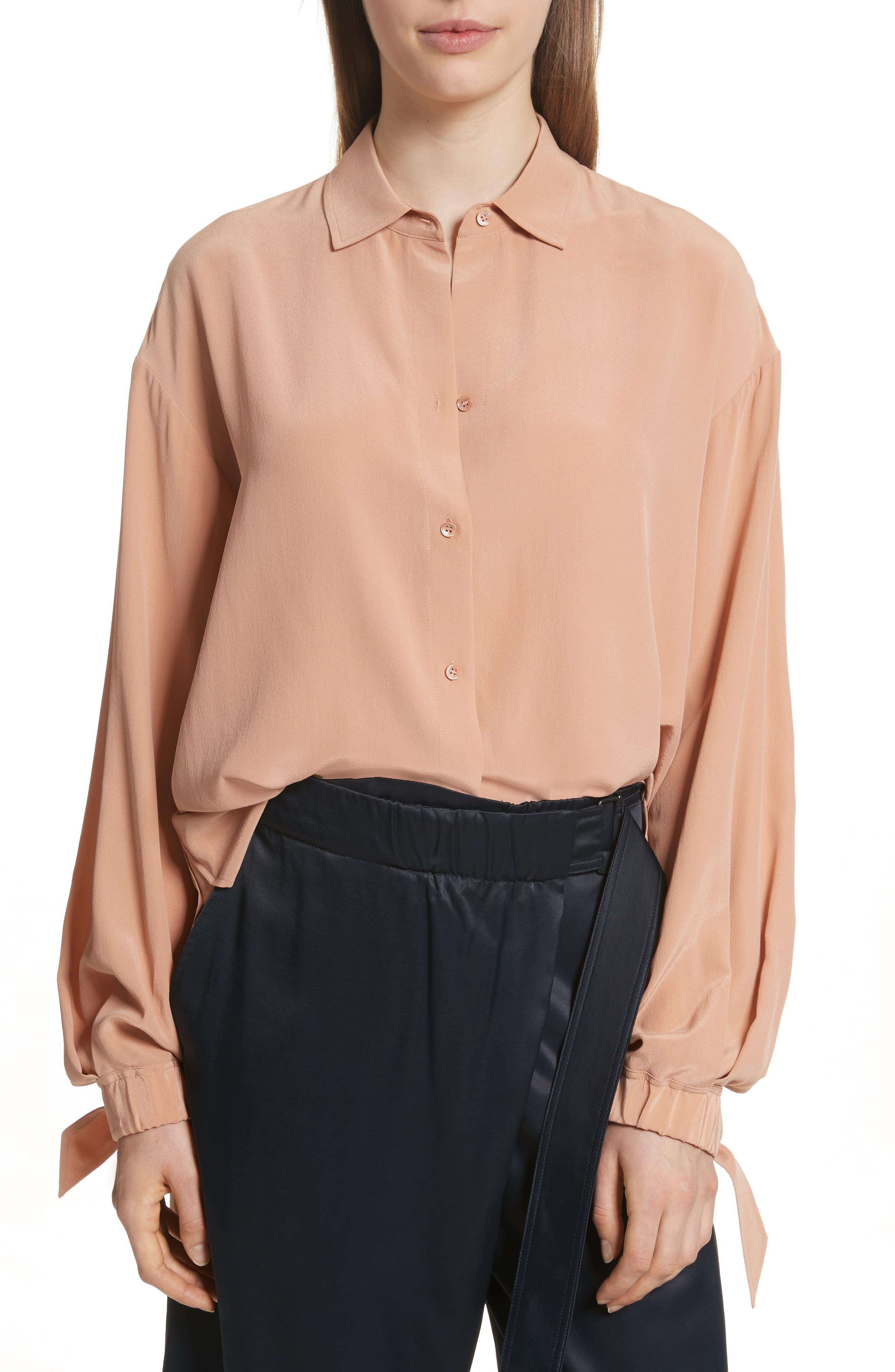 Tie Cuff Silk Blouse,                         Main,                         color, Blush