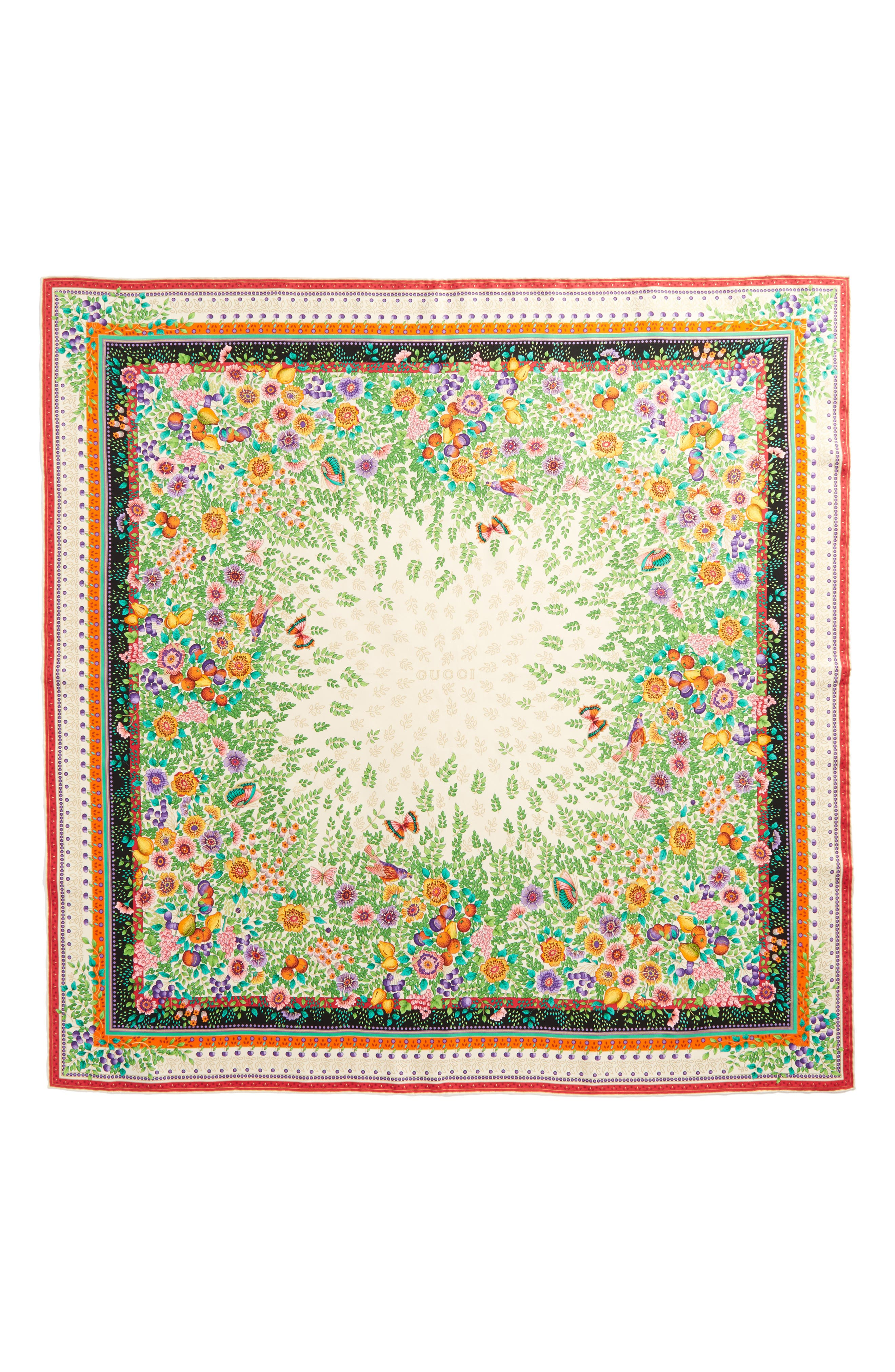 Gucci Liberty Flowers Fouland Silk Square Scarf