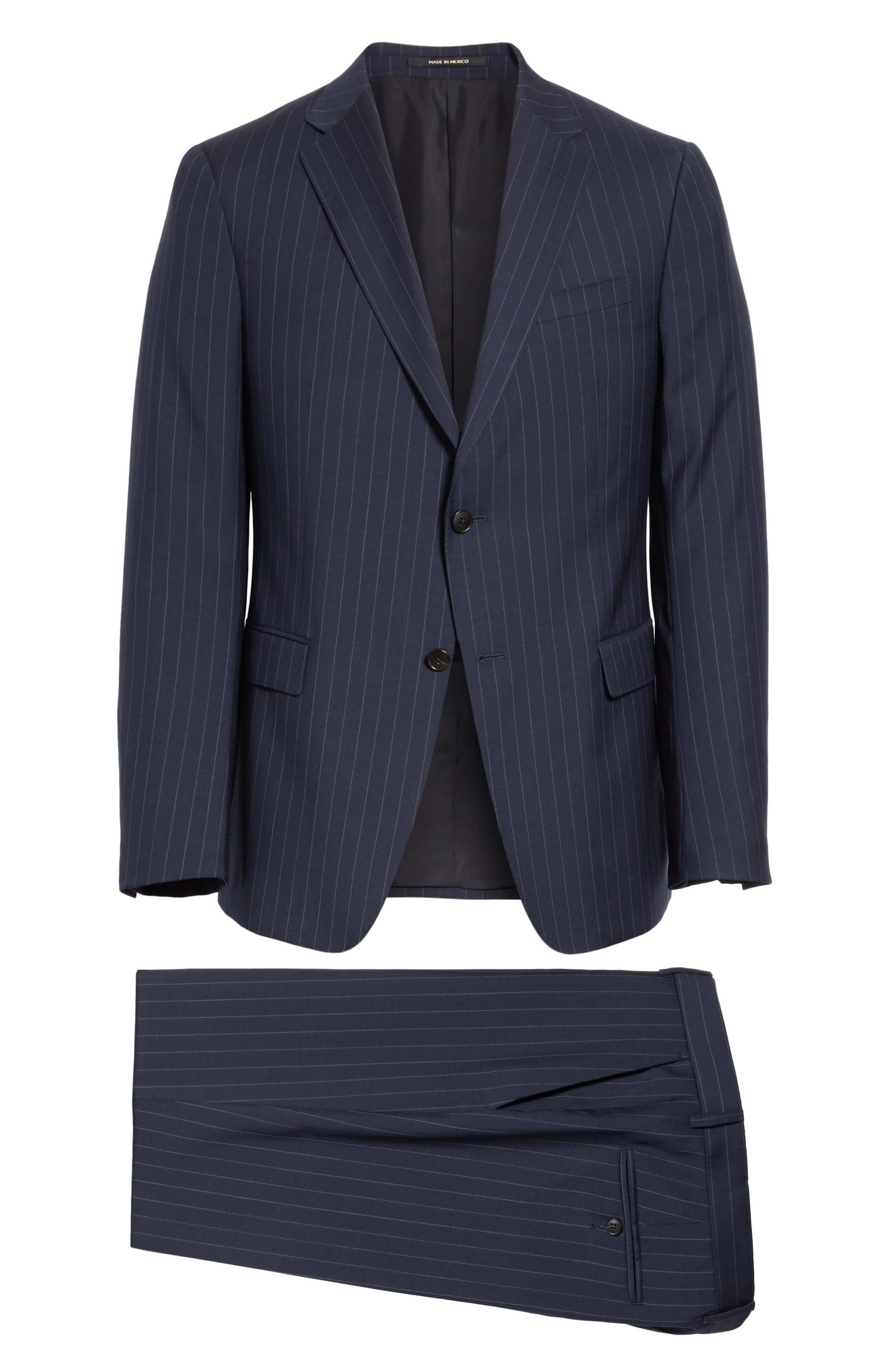 Classic Fit Stripe Wool Suit,                             Alternate thumbnail 8, color,                             Navy Stripe
