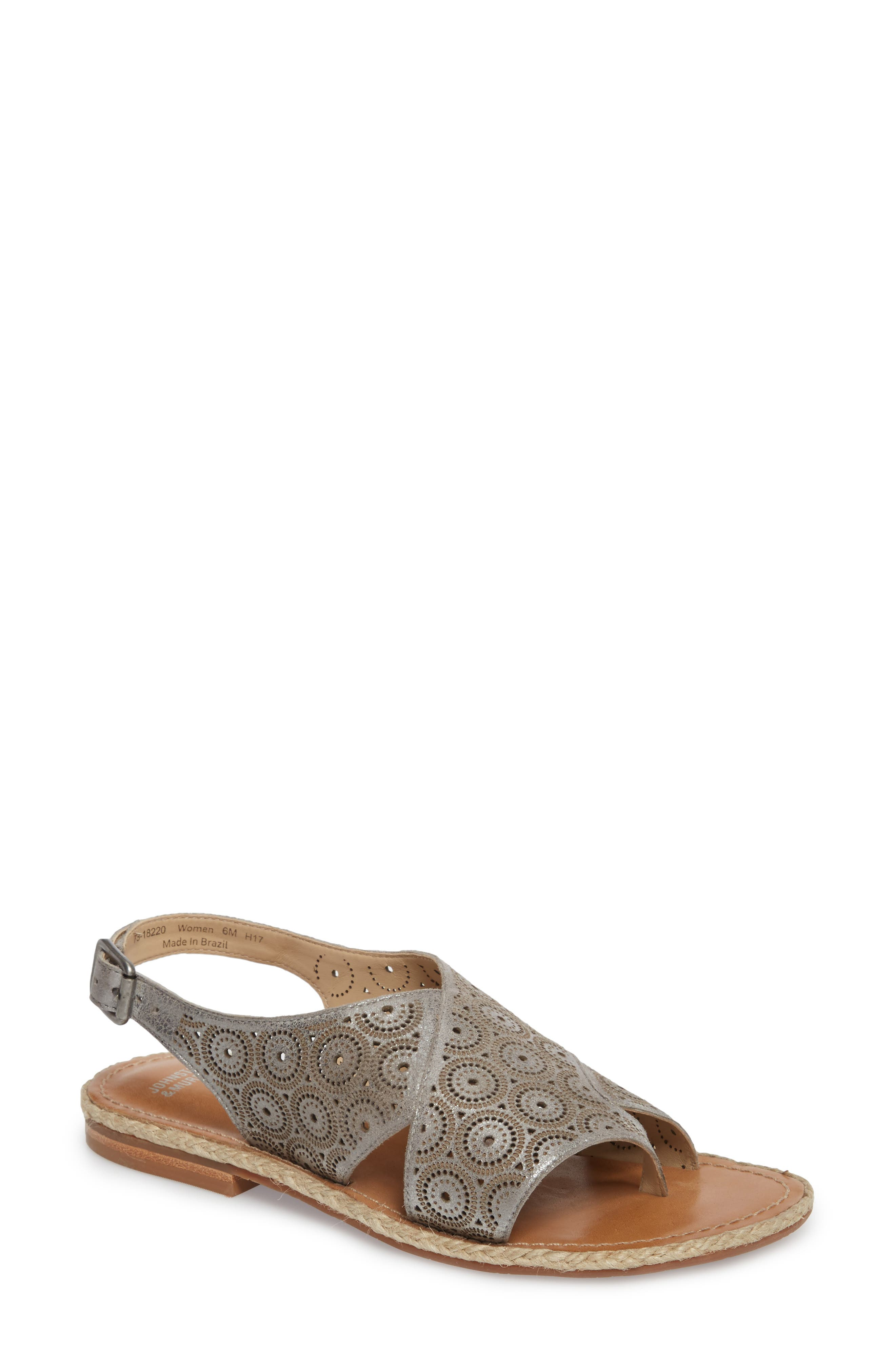 Willow Flat Sandal,                         Main,                         color, Pewter Leather