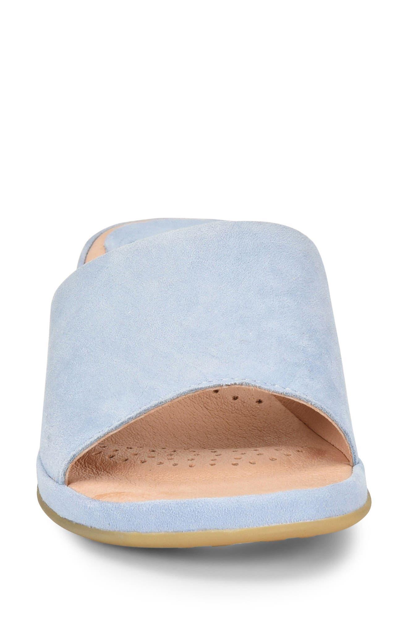 Bo Block Heel Slide Sandal,                             Alternate thumbnail 4, color,                             Light Blue Suede