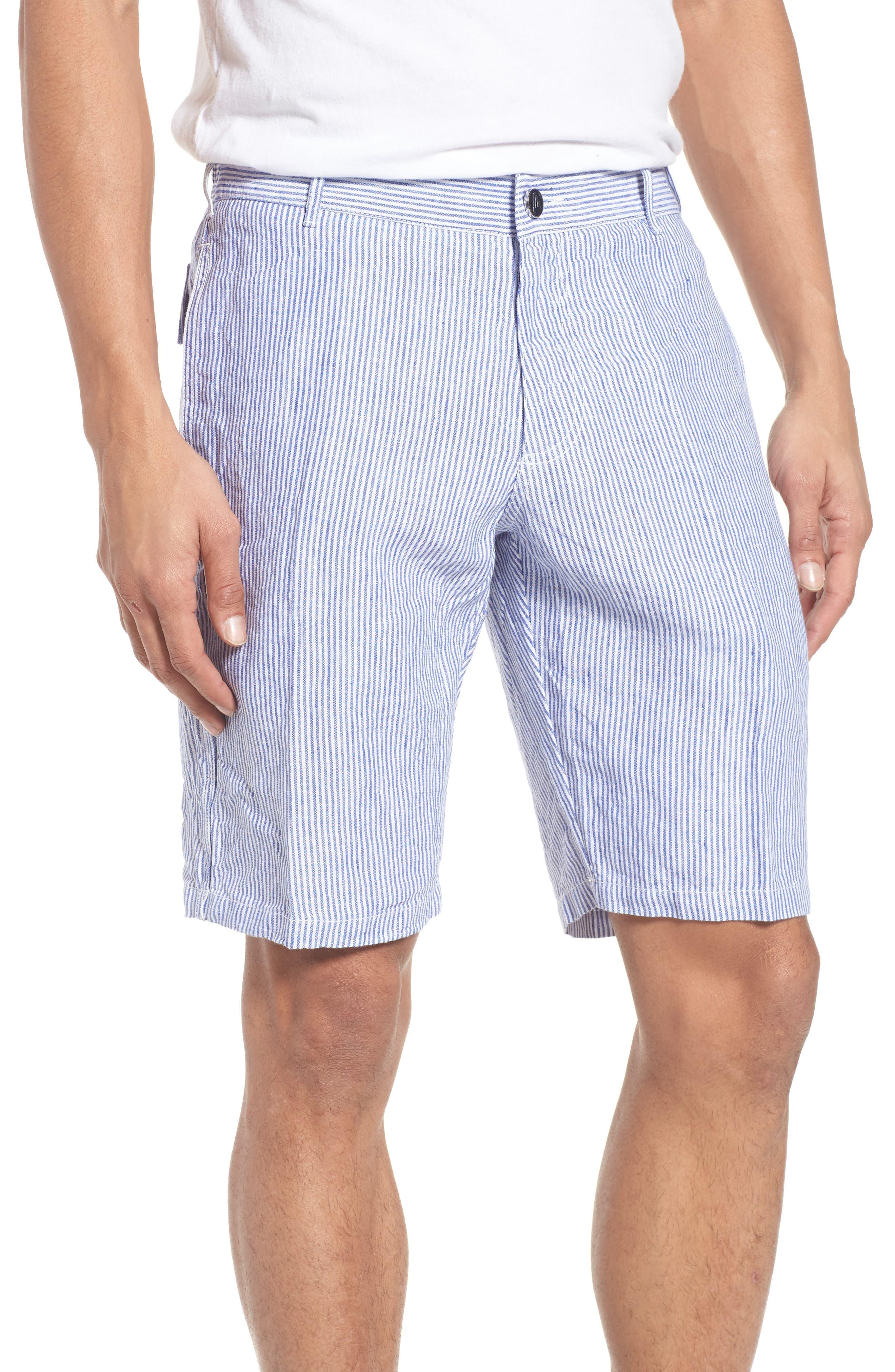 Stripe Linen Bermuda Shorts,                         Main,                         color, Steel Blue