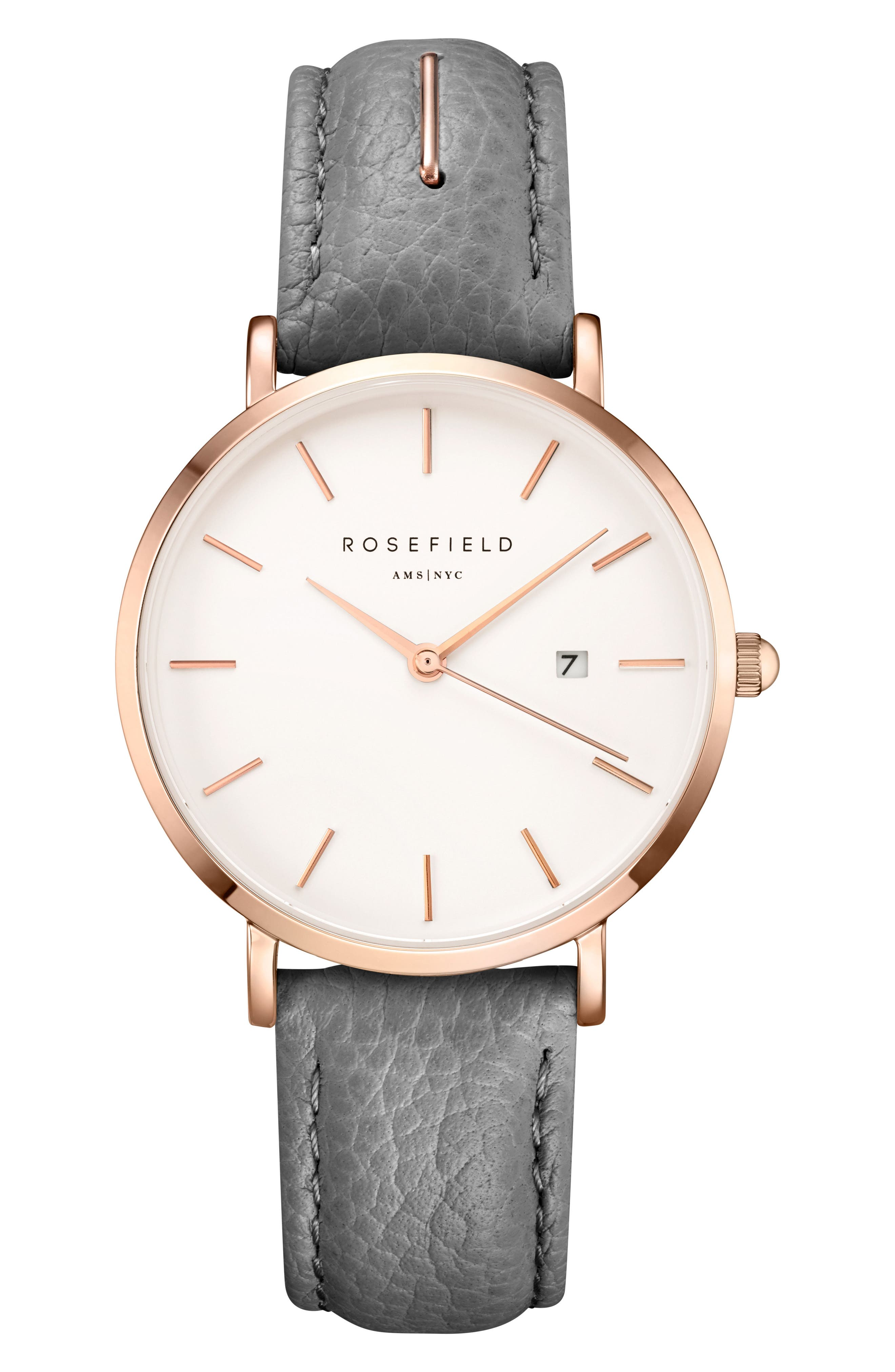 The September Issue Leather Strap Watch, 33mm,                         Main,                         color, Grey/ Rose Gold