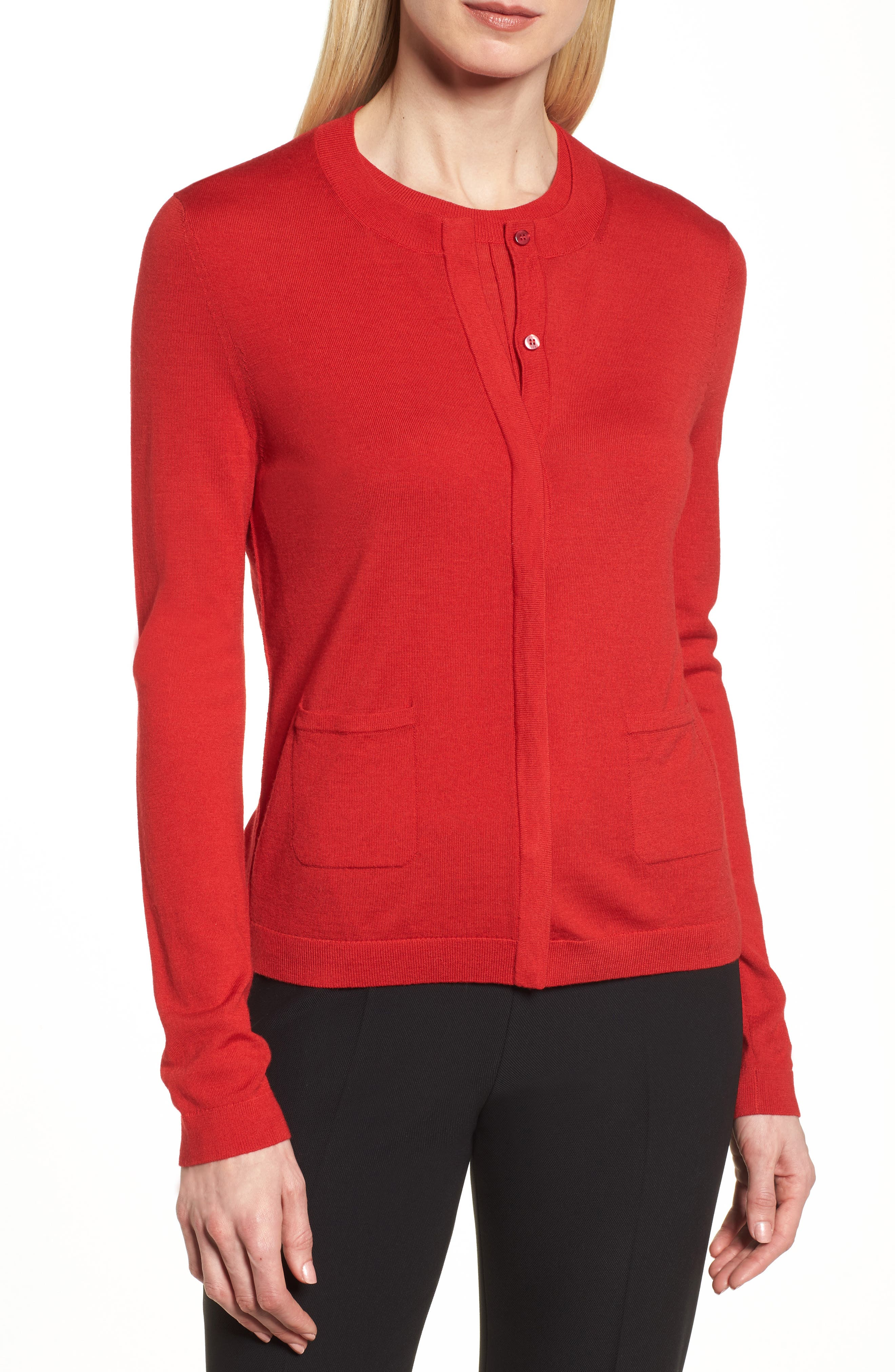Fuyuma Wool Cardigan,                             Alternate thumbnail 4, color,                             Crimson Red