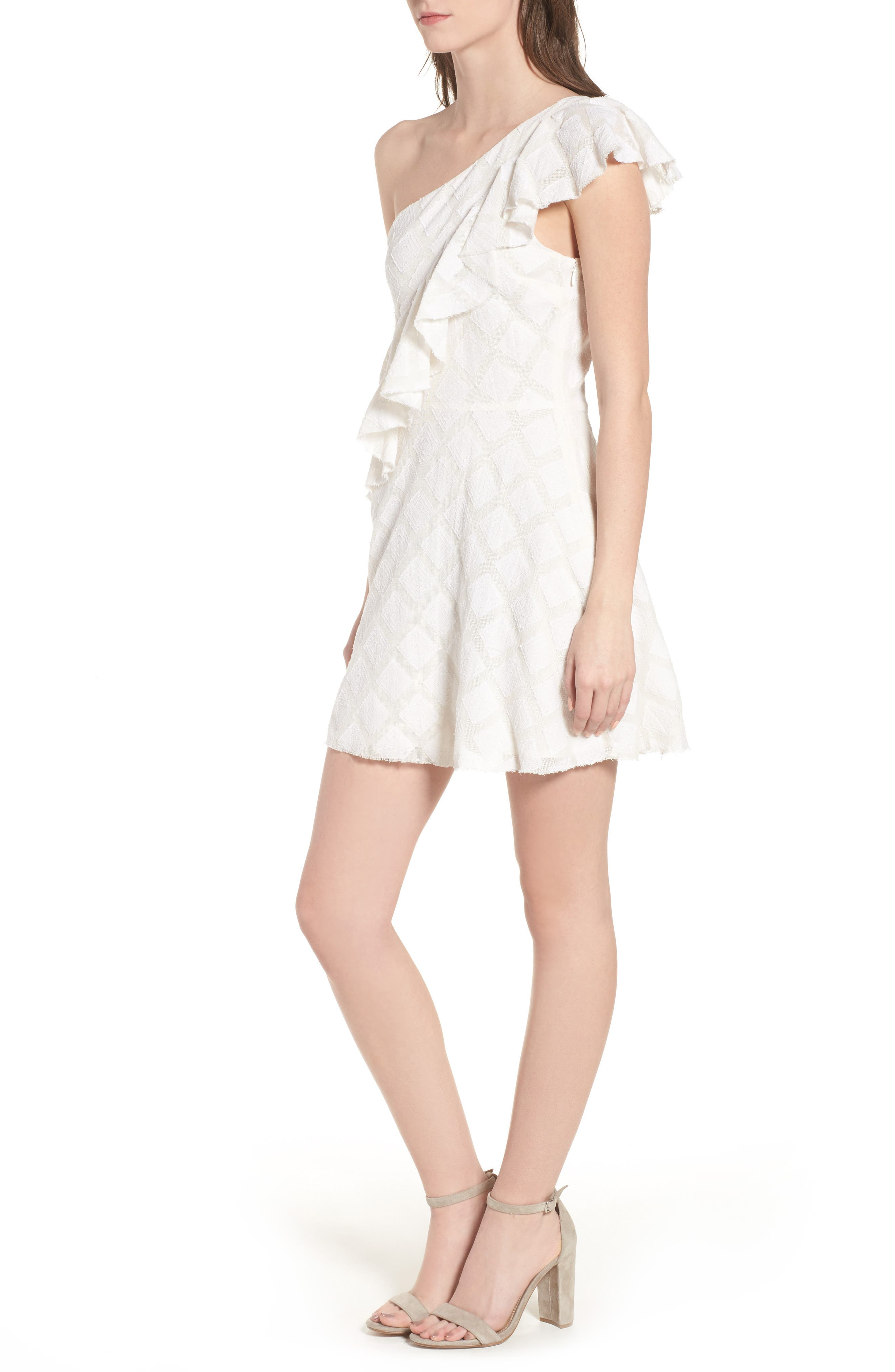 Aria One-Shoulder Dress,                             Alternate thumbnail 4, color,                             Ivory