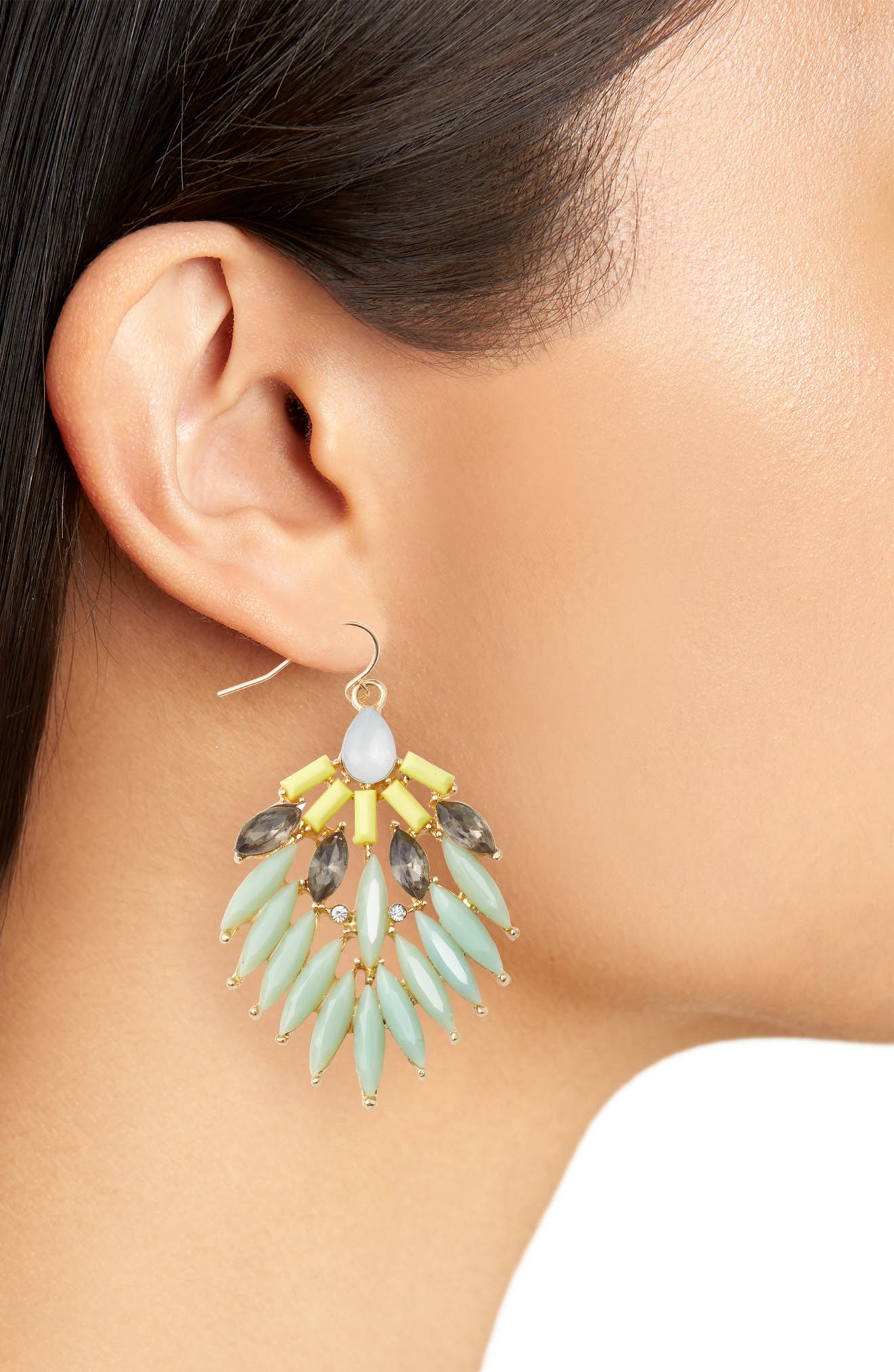 Stone Fan Earrings,                             Alternate thumbnail 2, color,                             Mint