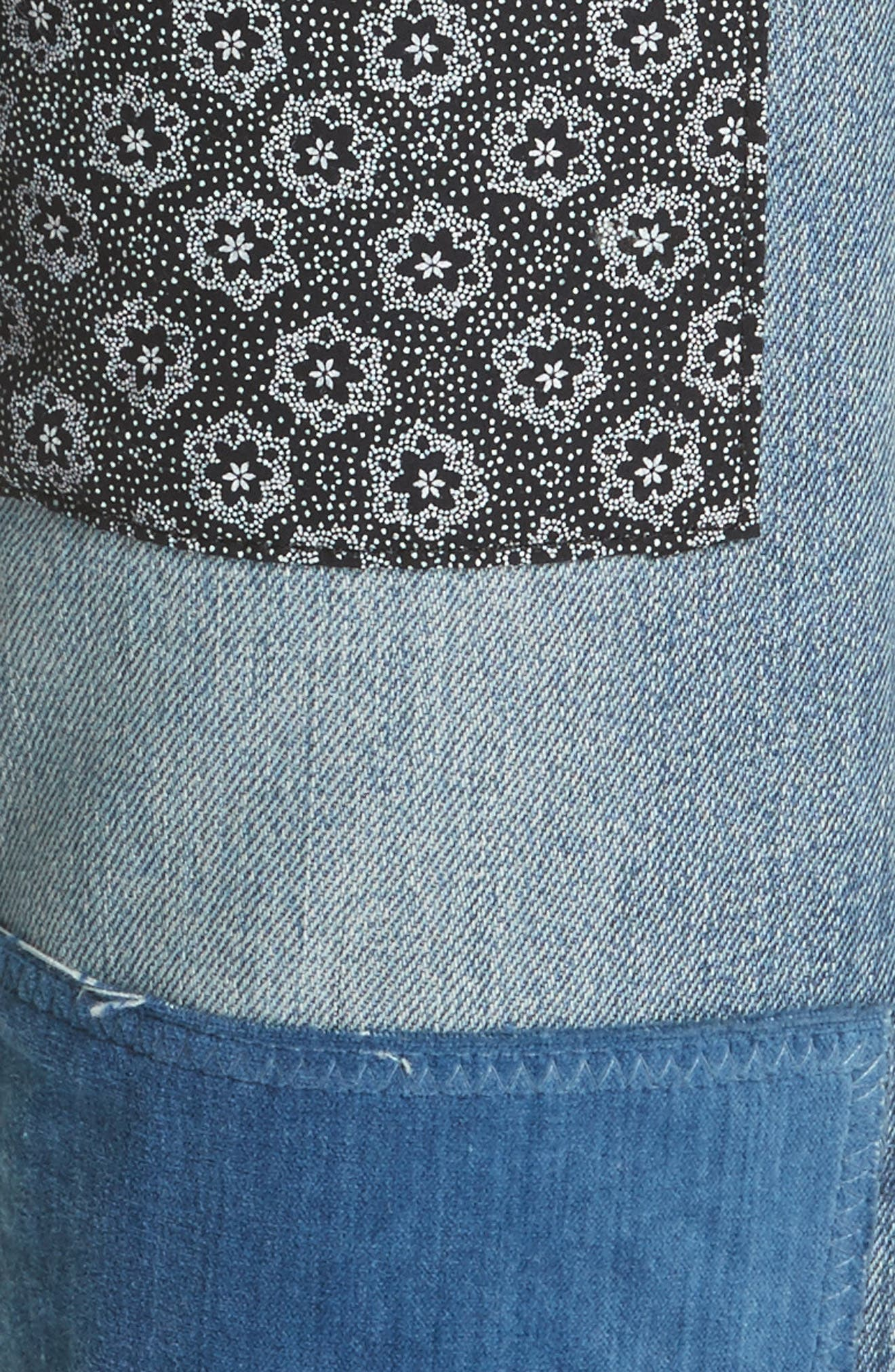 Alternate Image 5  - La Vie Rebecca Taylor Patched Velvet & Rigid Denim Jeans (Blueprint Patch)