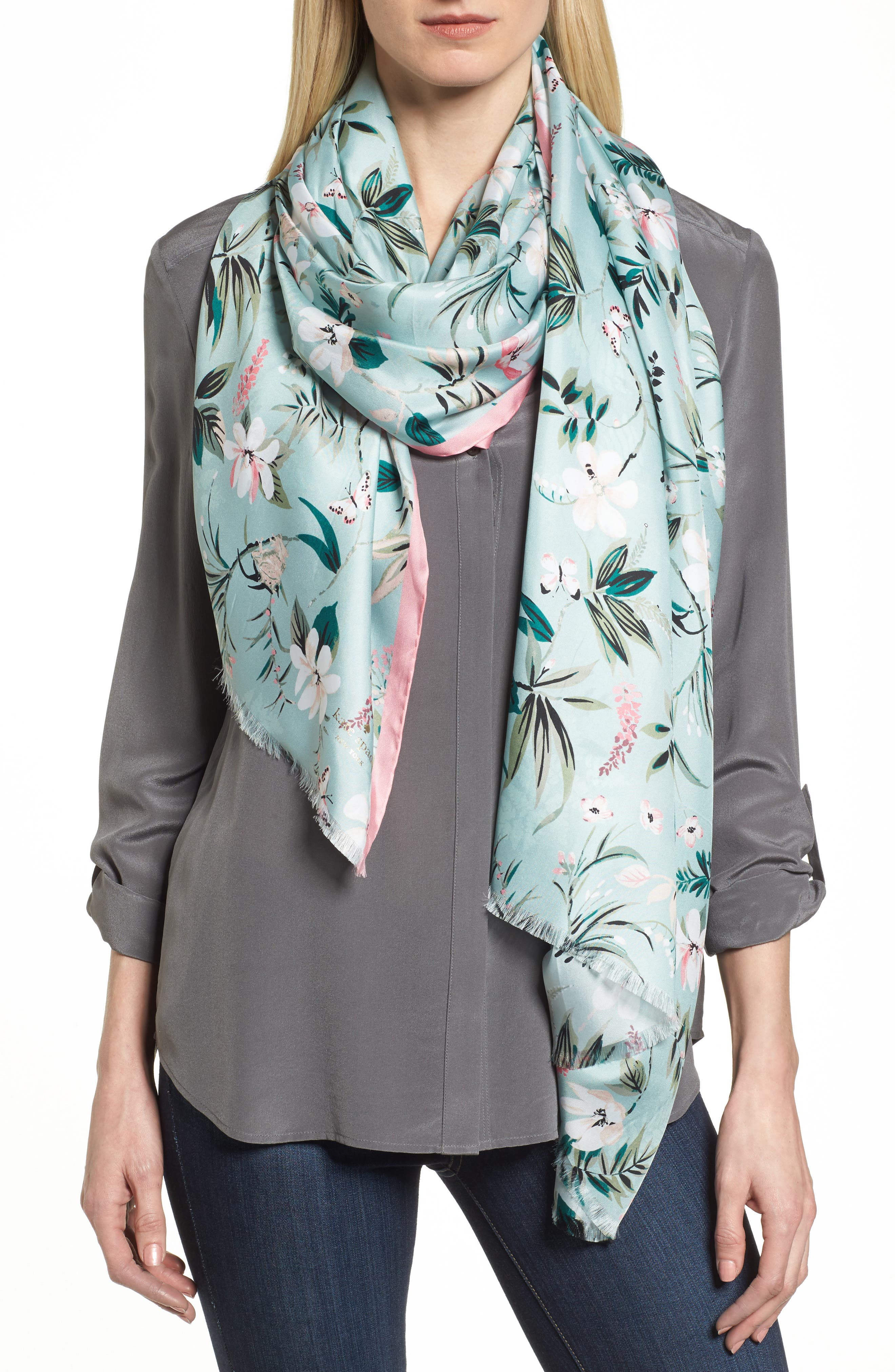 kate spade new york botanical silk scarf
