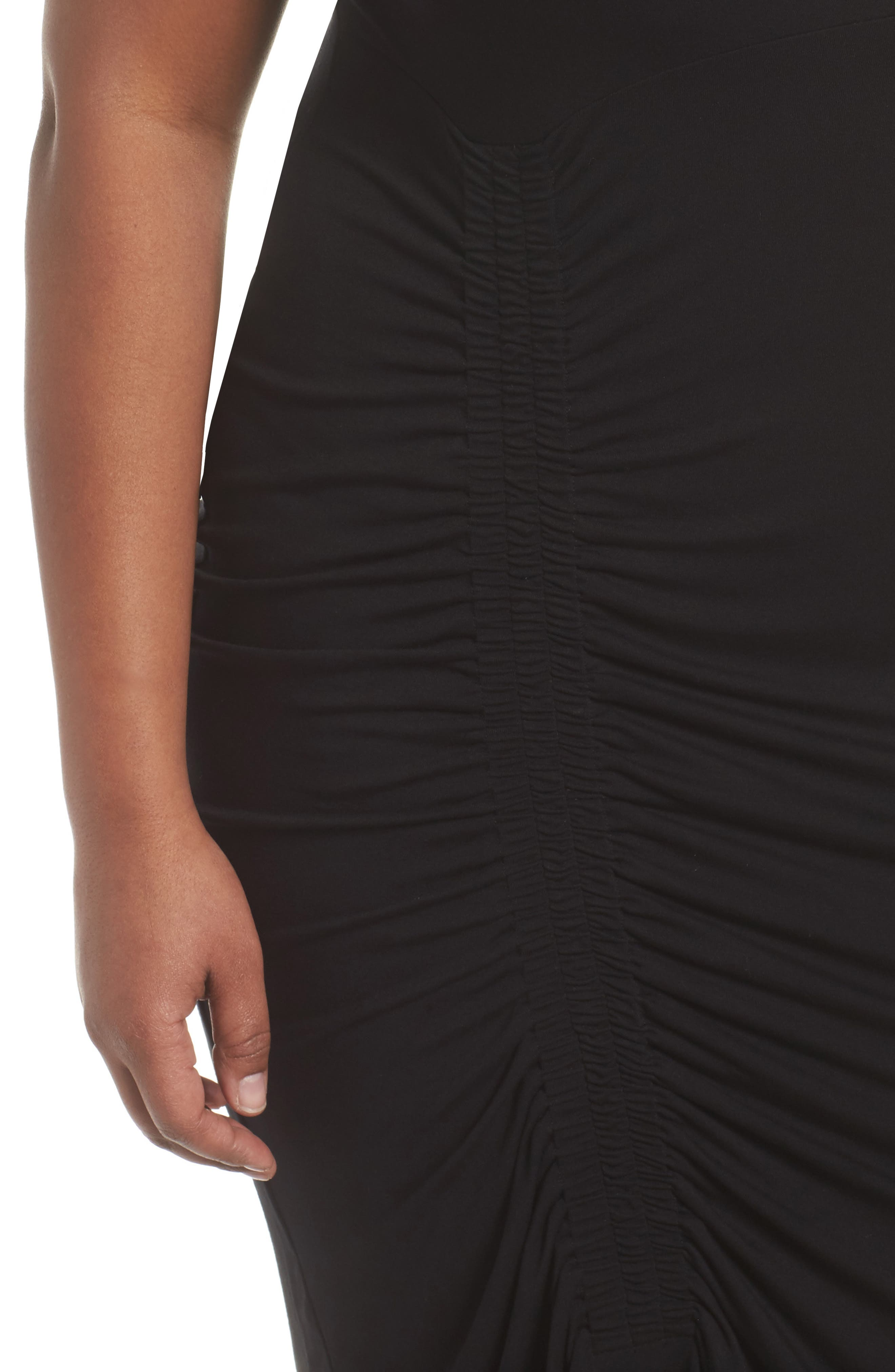 Side Ruched Sheath Dress,                             Alternate thumbnail 4, color,                             Rich Black