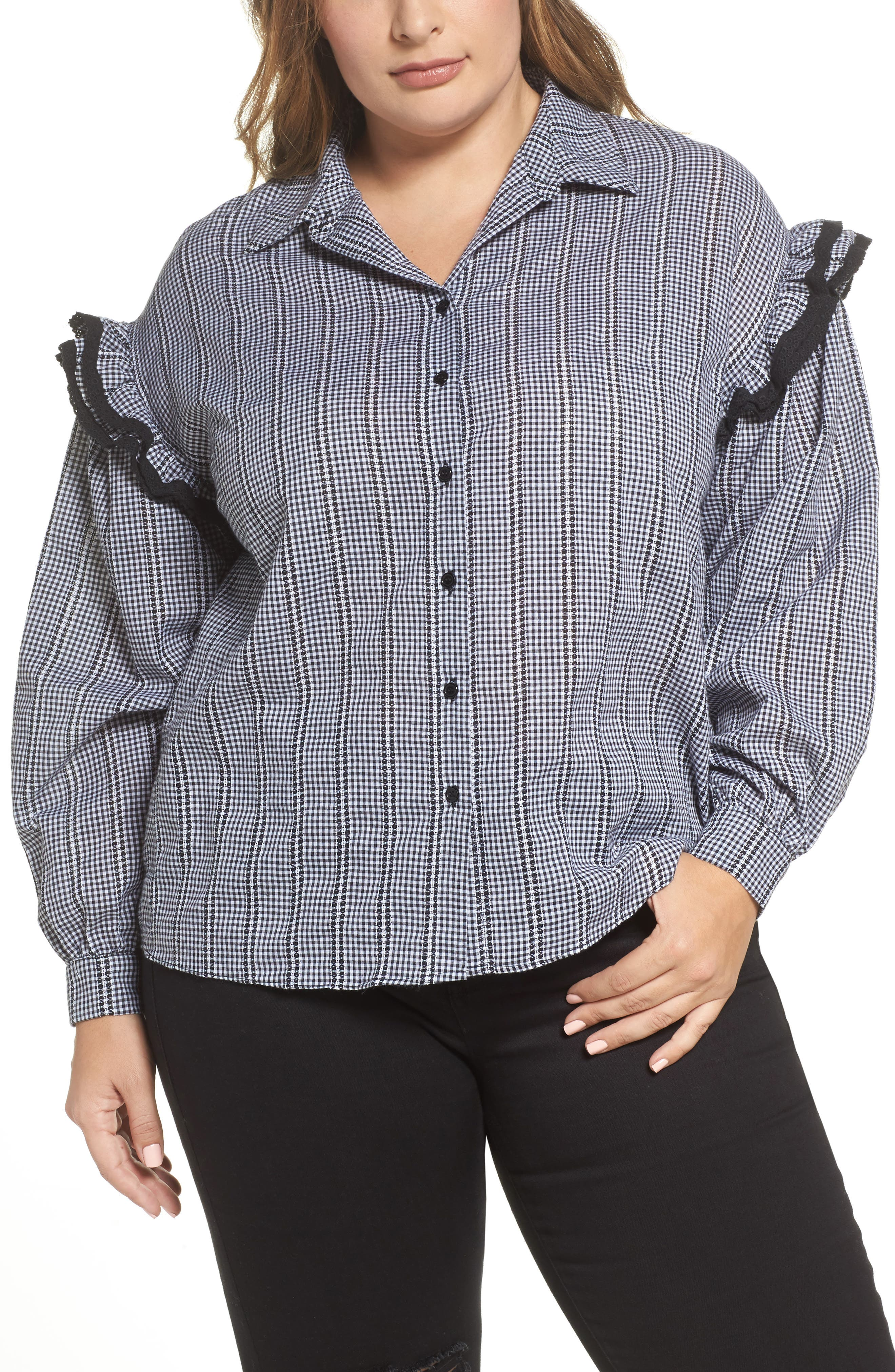 Gingham Ruffle Sleeve Shirt,                         Main,                         color, Multi