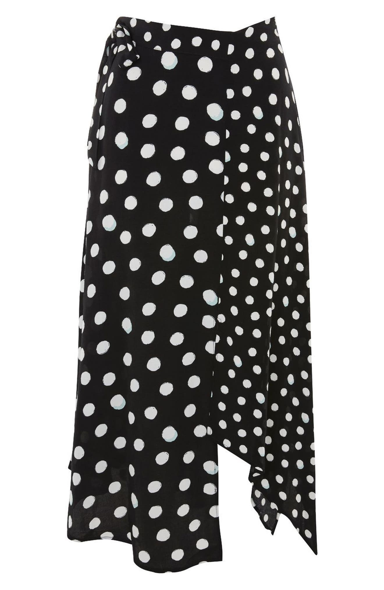 Polka Dot Handkerchief Hem Skirt,                             Alternate thumbnail 3, color,                             Black Multi