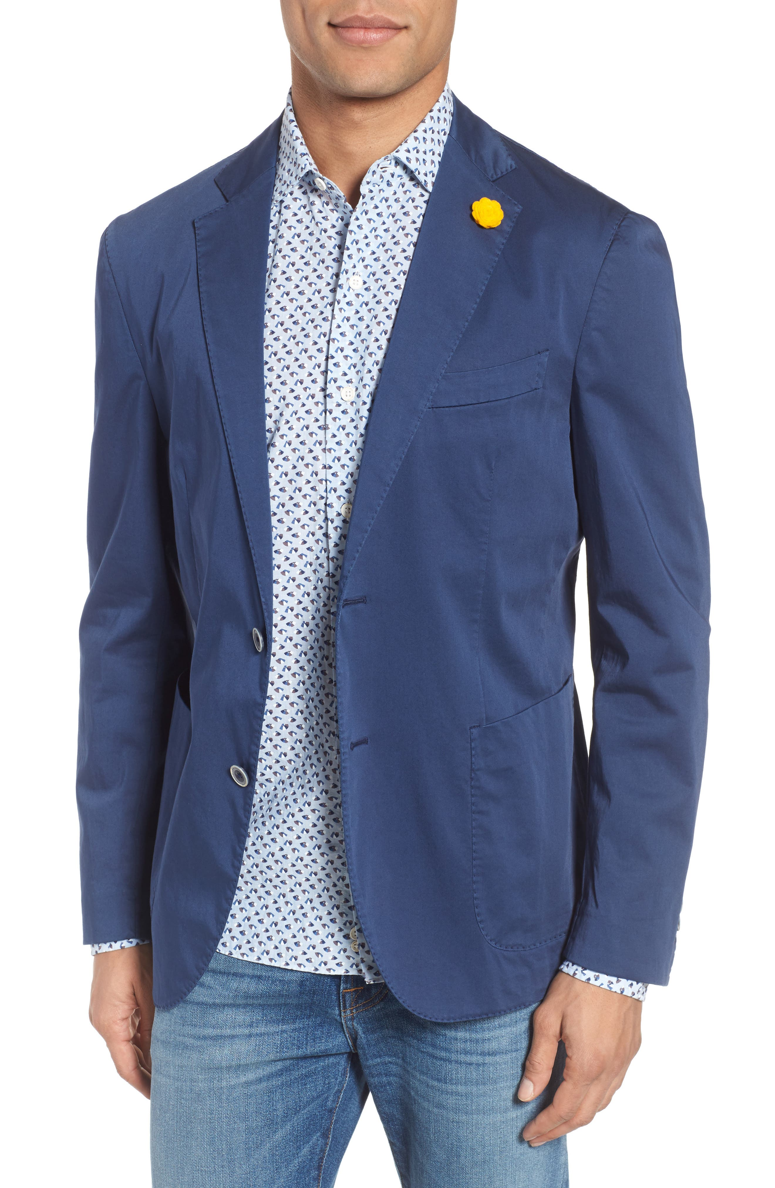 Trim Fit Stretch Cotton Blazer,                         Main,                         color, Navy