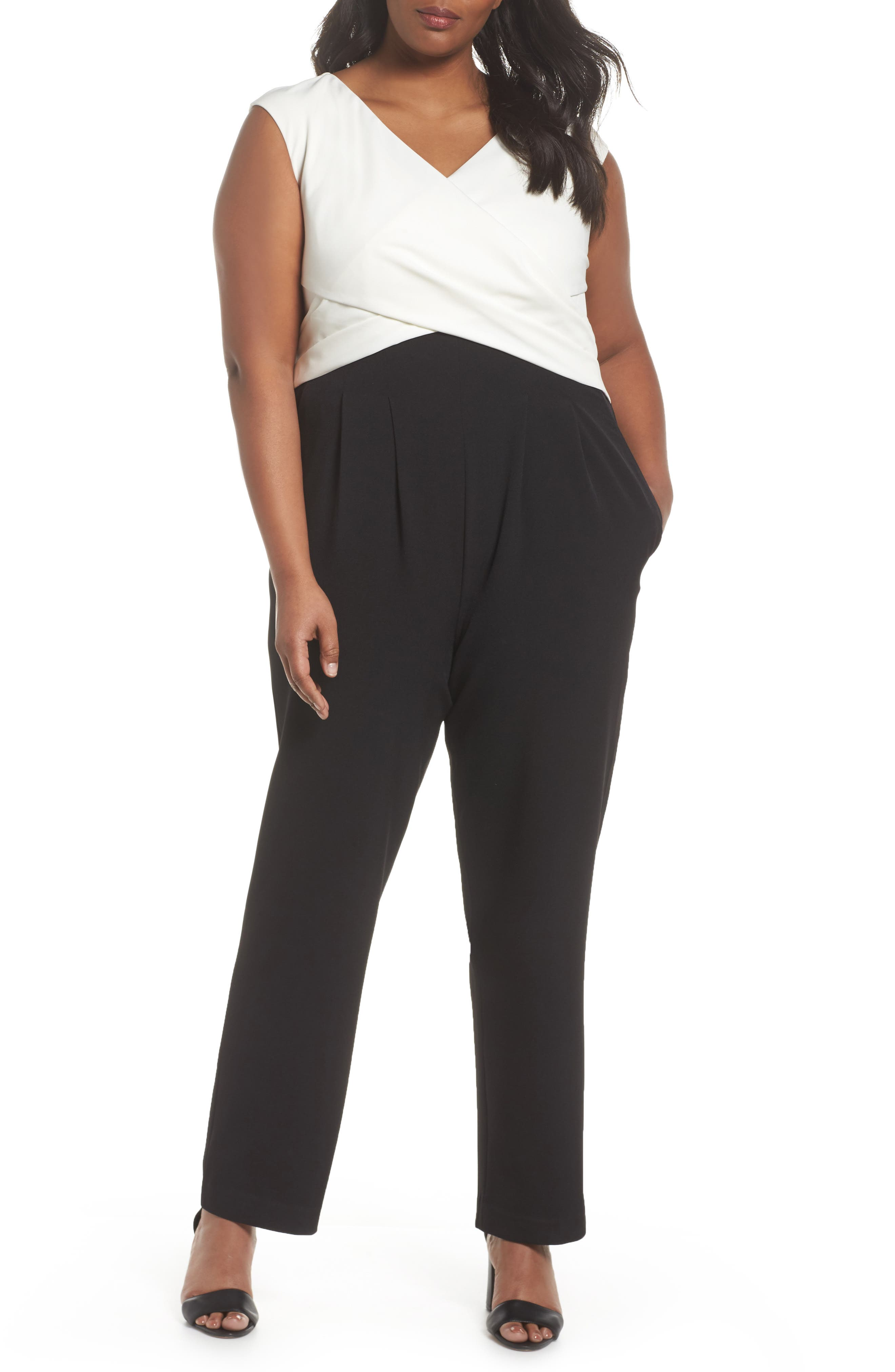 Straight Leg Surplice Jumpsuit,                         Main,                         color, Black/ Ivory