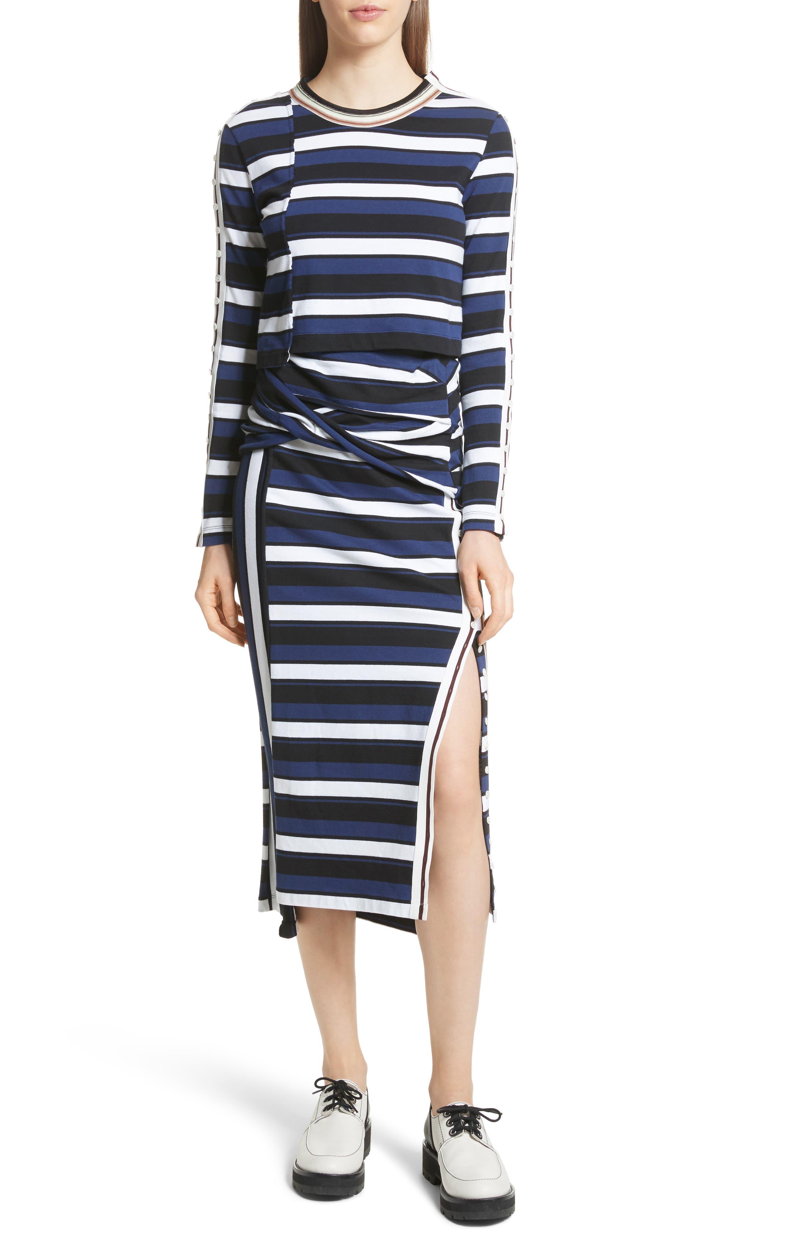 Stripe Maxi Skirt,                             Alternate thumbnail 7, color,                             Cobalt-Black