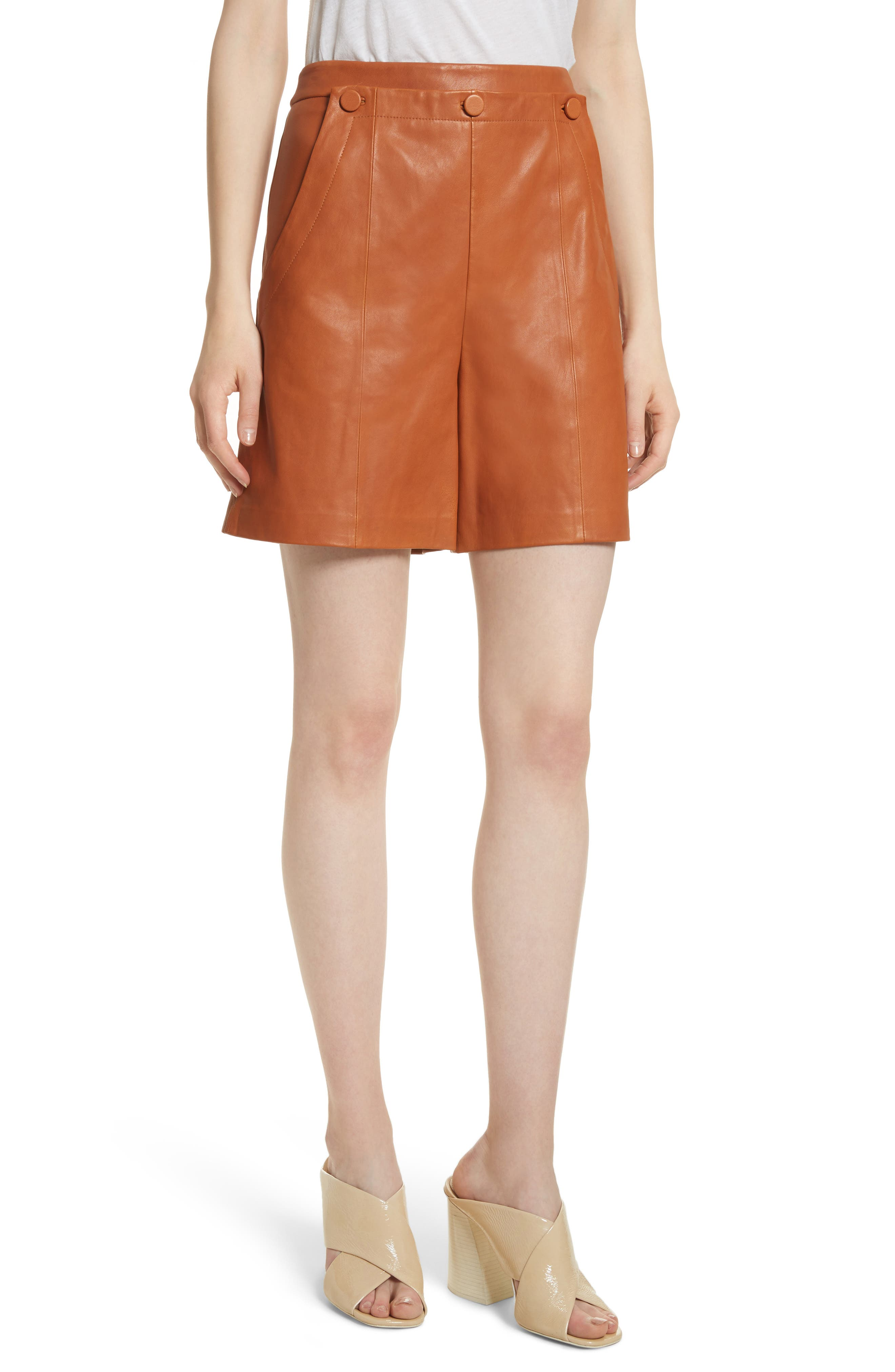 Leather Sailor Shorts,                         Main,                         color, Ginger