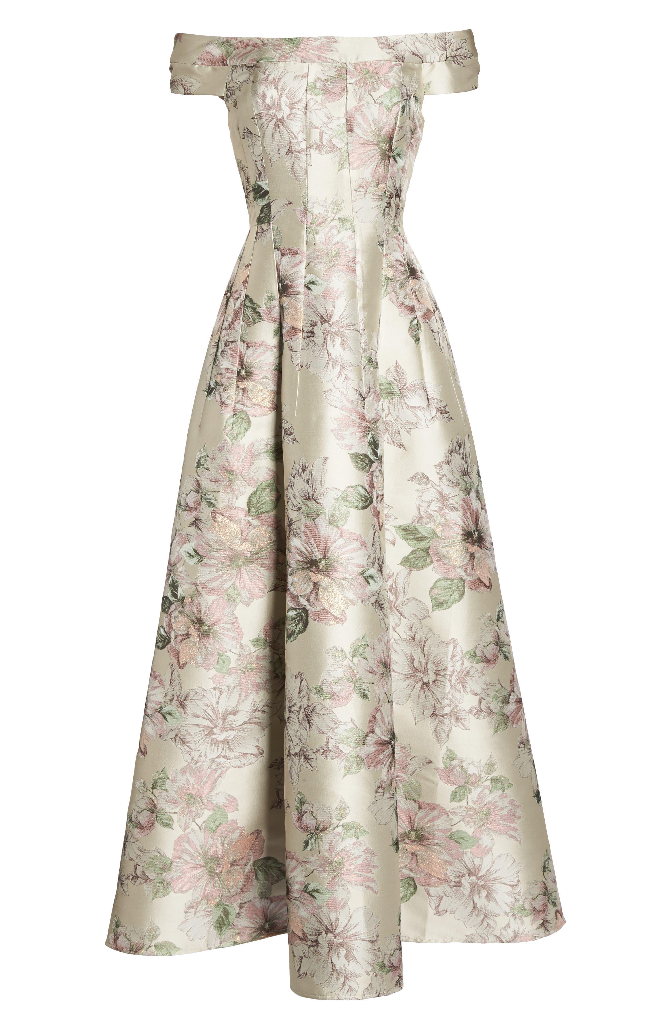 Floral Jacquard Off the Shoulder Ballgown,                             Alternate thumbnail 6, color,                             Blush