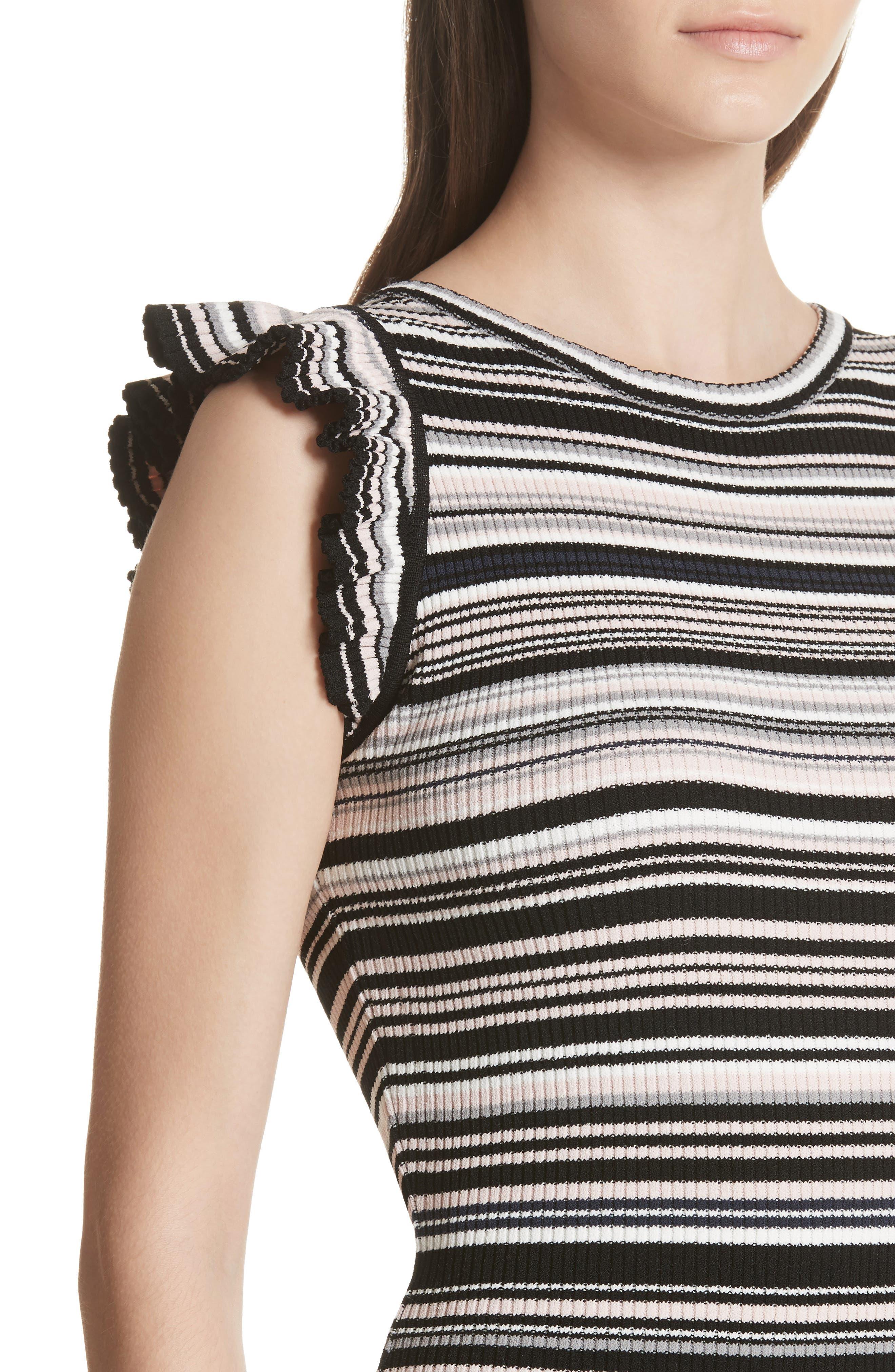 Microstripe Knit Mermaid Dress,                             Alternate thumbnail 4, color,                             Neutral Multi