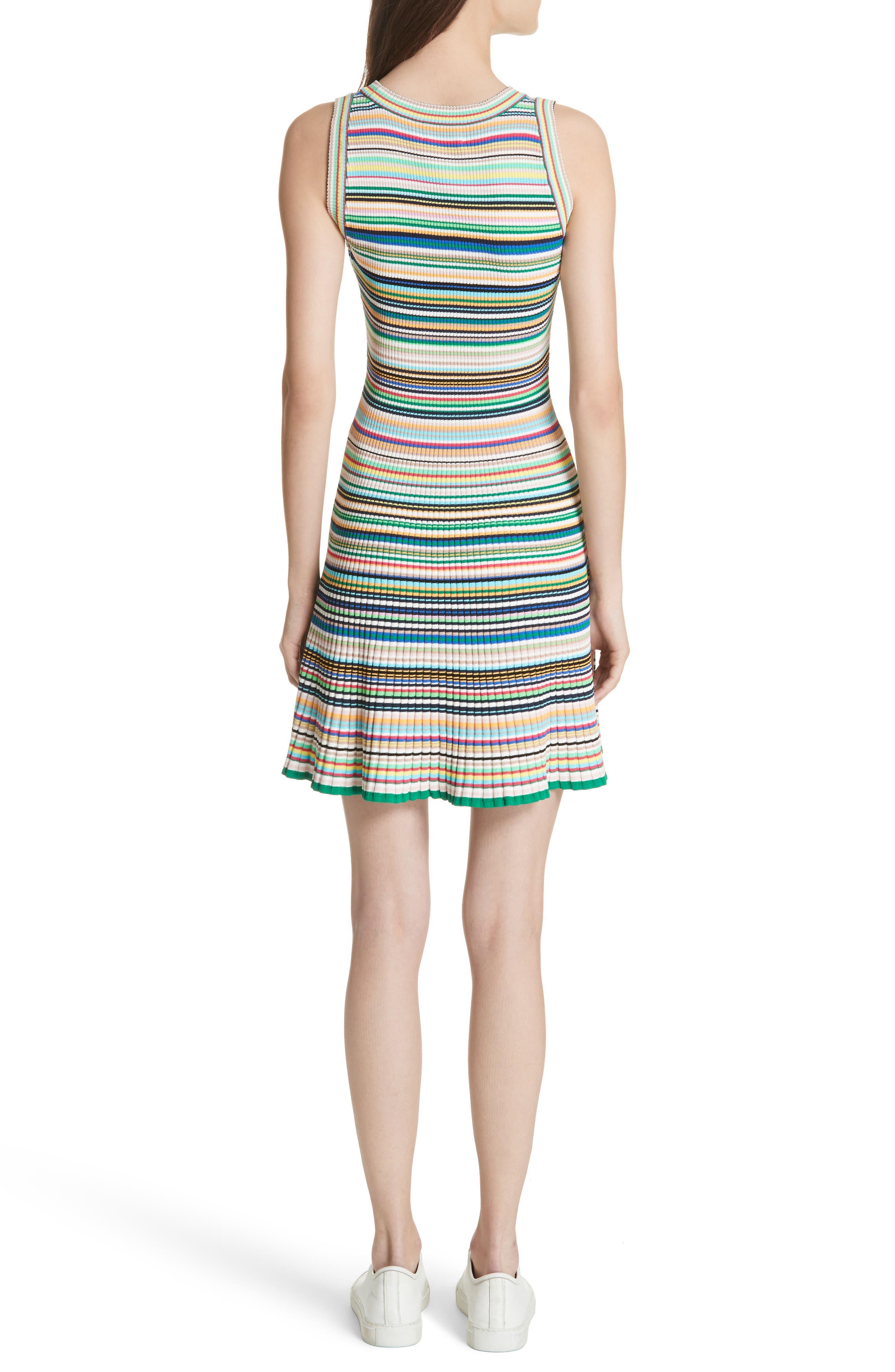 Microstripe Knit Fit & Flare Dress,                             Alternate thumbnail 2, color,                             Rainbow Multi