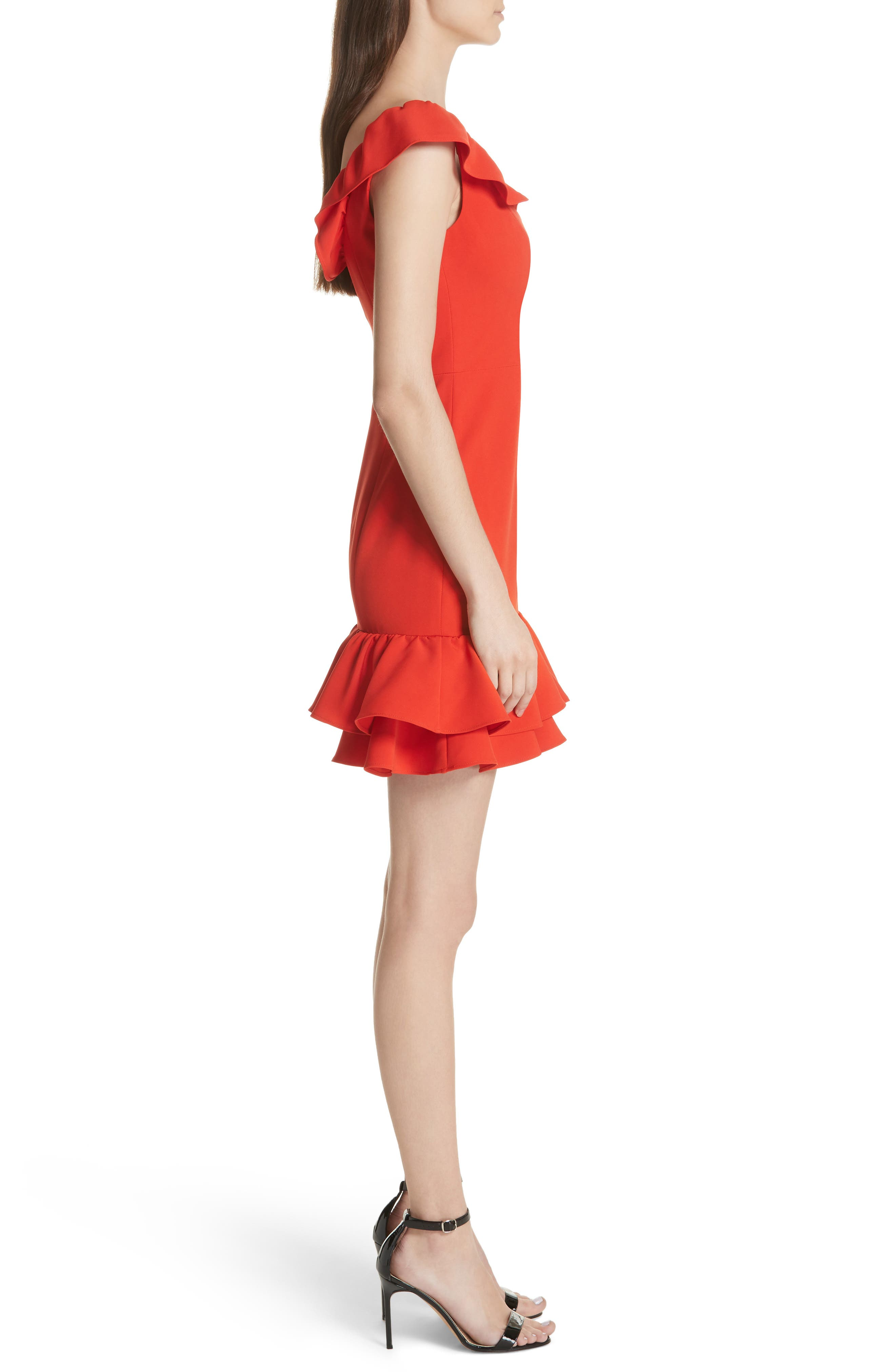Savannah Ruffle Crepe Minidress,                             Alternate thumbnail 3, color,                             Tomato